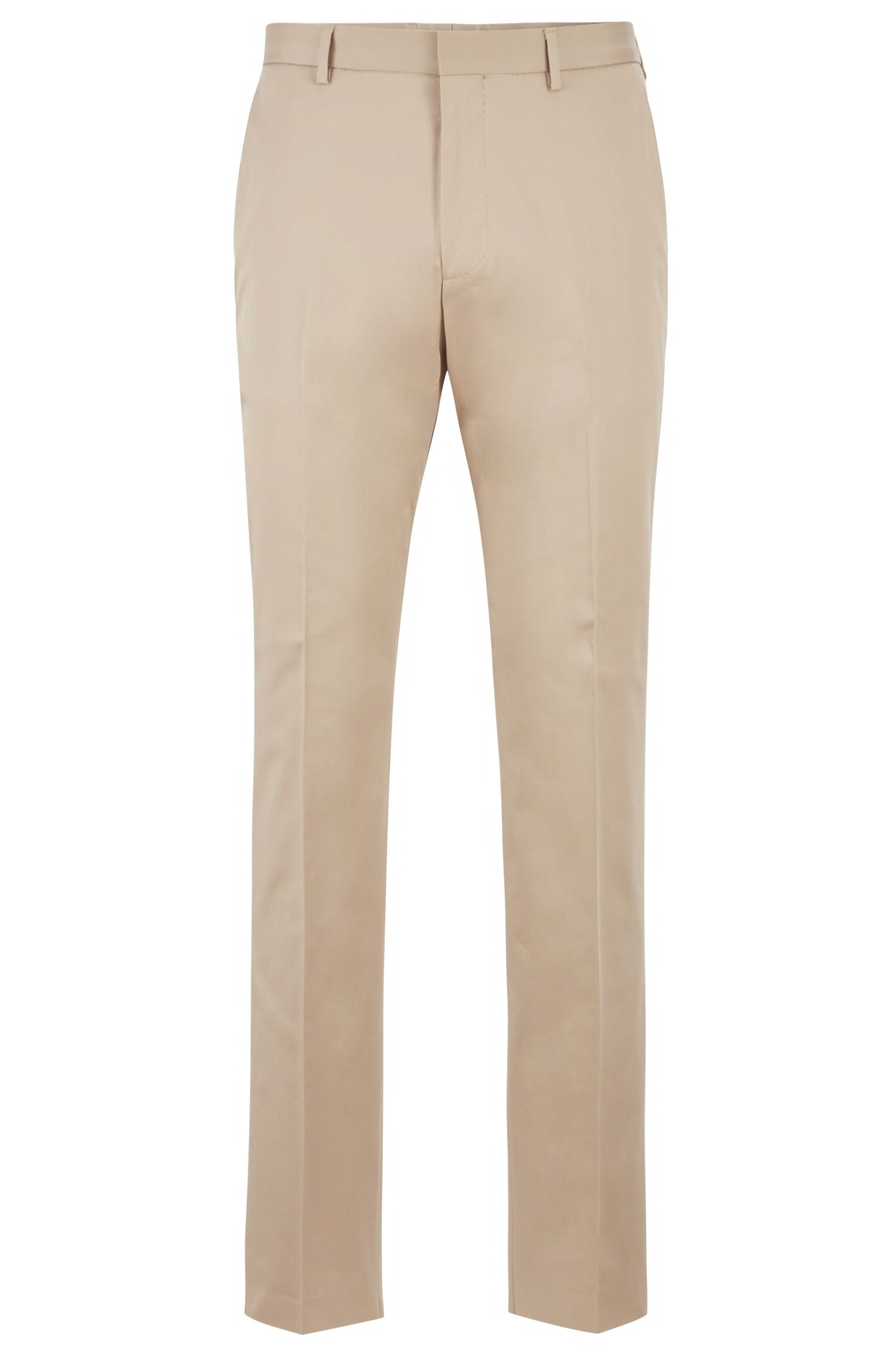 Relaxed-fit cropped pants in stretch-cotton gabardine, Light Beige