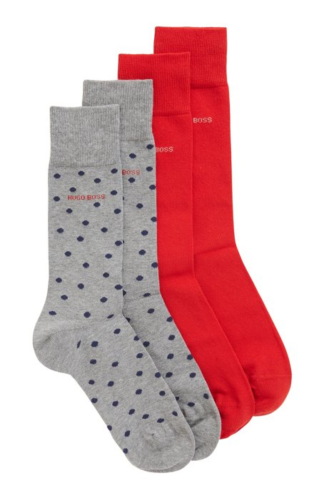 Two-pack of plain and dot-patterned socks in a cotton blend, Silver