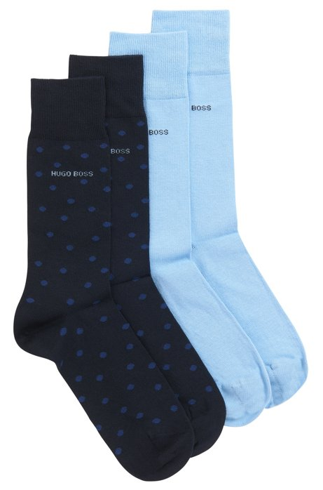Two-pack of plain and dot-patterned socks in a cotton blend, Dark Blue