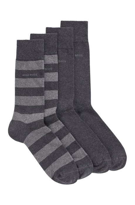 Two-pack of regular-length socks in a combed-cotton blend, Dark Grey