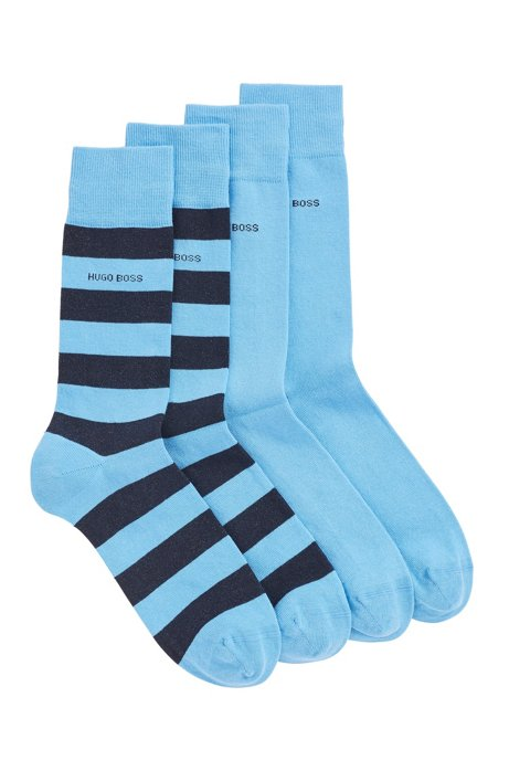Two-pack of regular-length socks in a combed-cotton blend, Turquoise