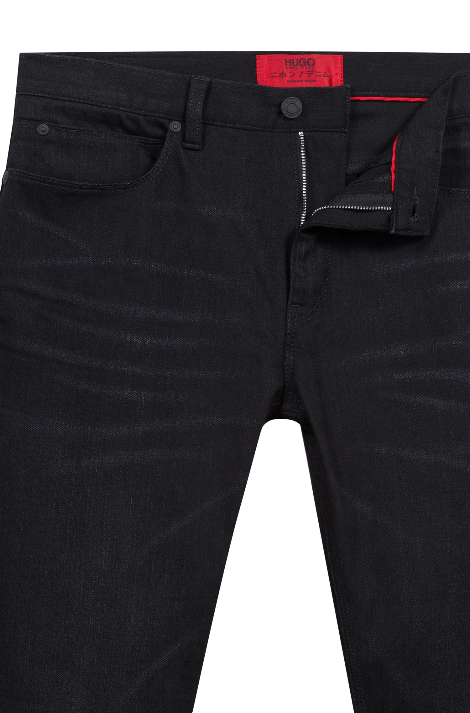 Skinny-fit jeans in black Japanese denim, Charcoal