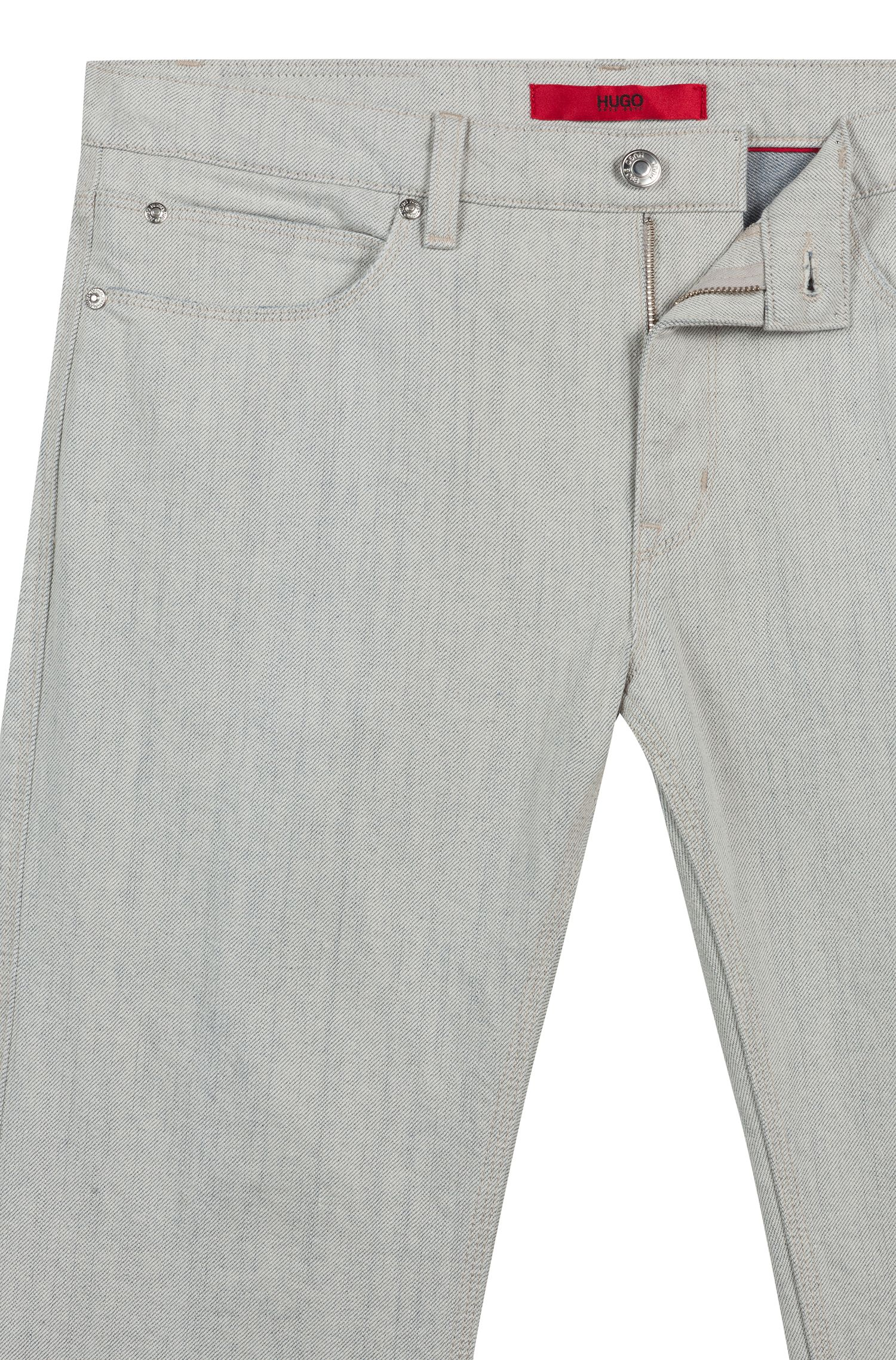 Slim-fit jeans in soft-washed light-gray denim, Natural