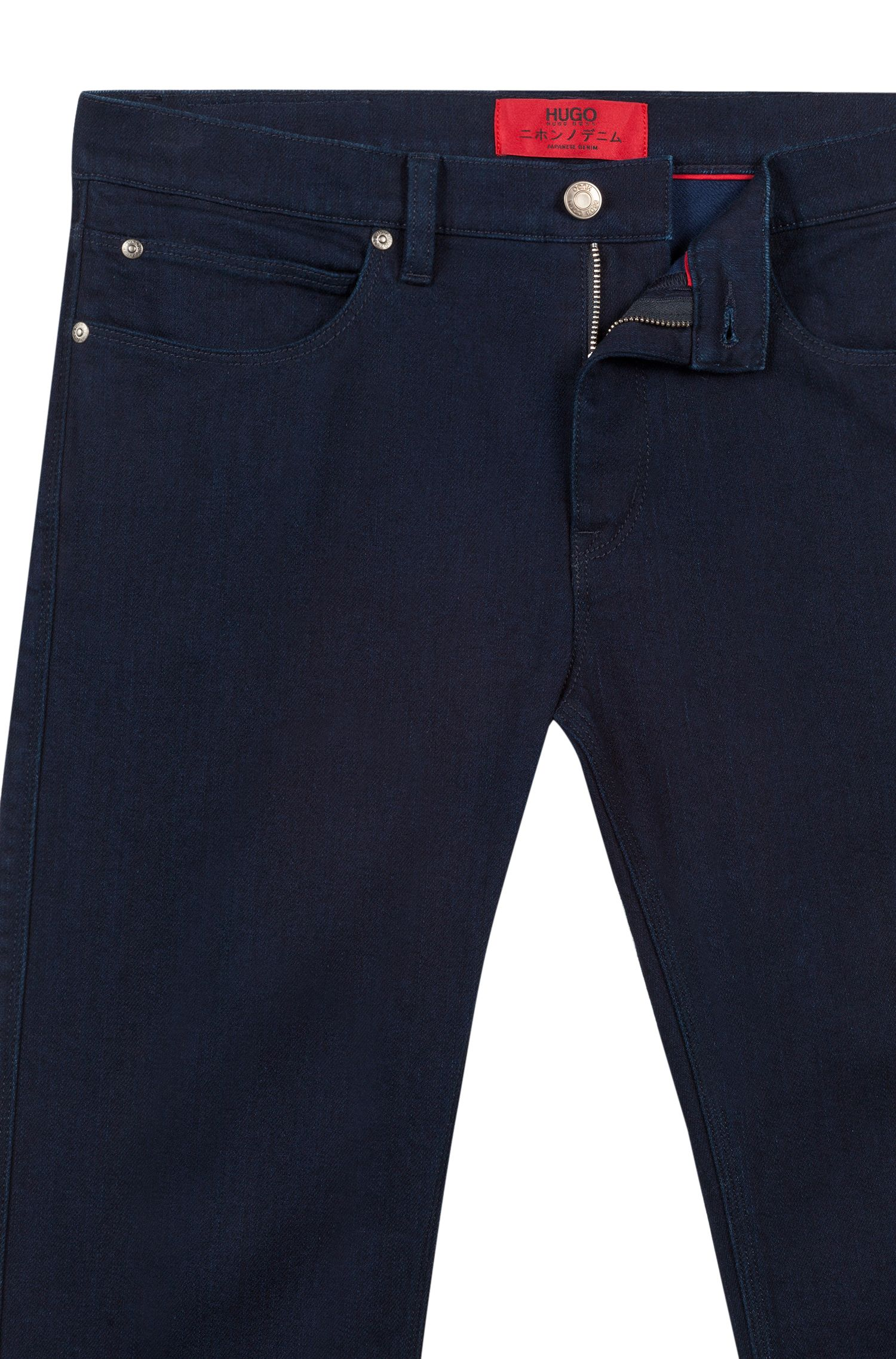 Slim-fit jeans in dark-blue Japanese denim, Dark Blue