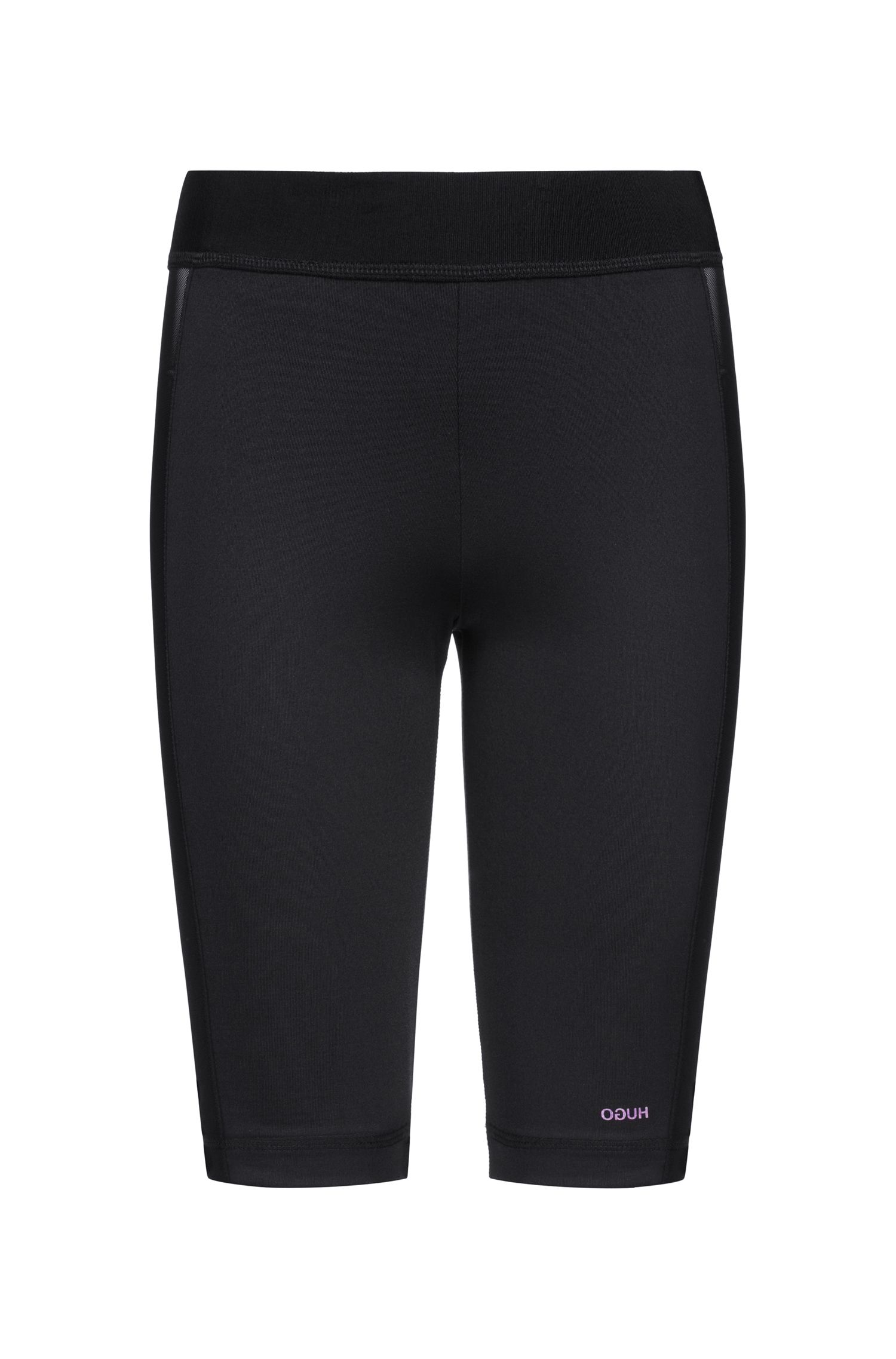 Cycling shorts in technical stretch fabric with net inserts, Black