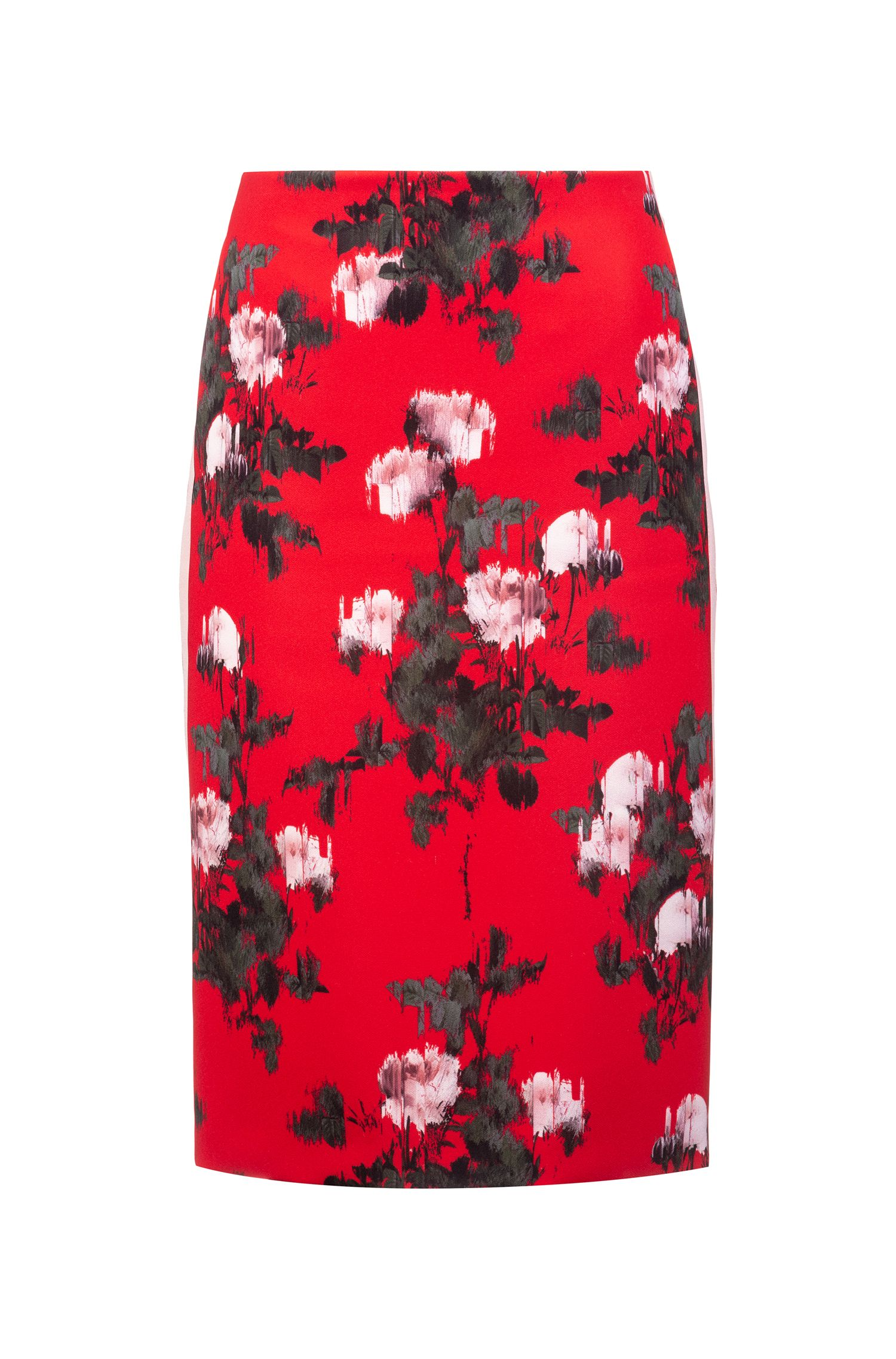 Slim-fit pencil skirt with side stripes, Patterned