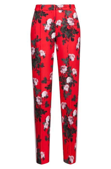 a7f6bbf4 Floral-print pants in stretch fabric with contrast stripe, Patterned