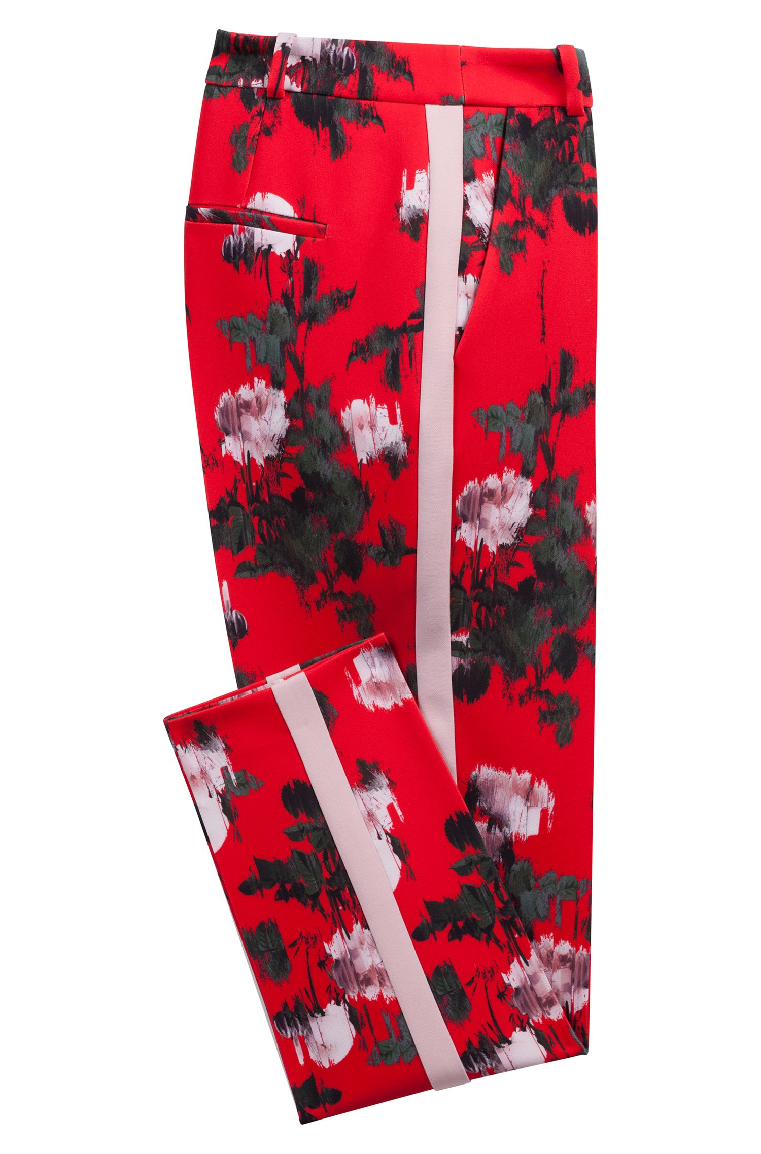 Floral-print pants in stretch fabric with contrast stripe, Patterned