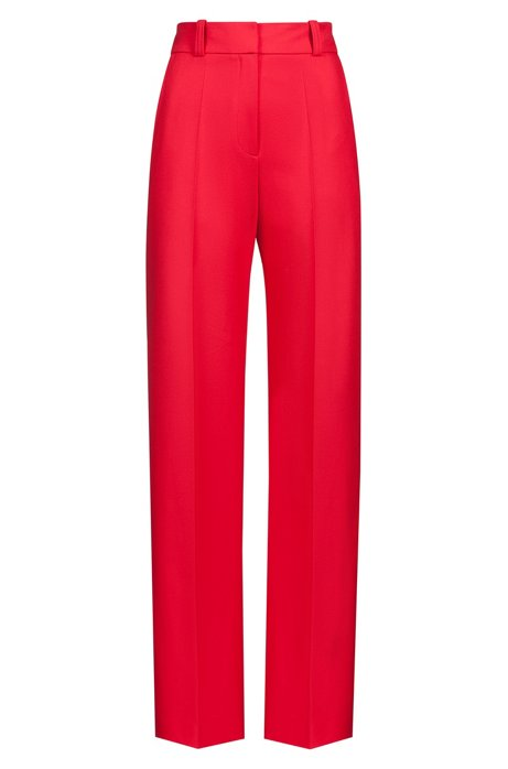 High-waisted pants in stretch crepe with wide leg, Open Pink