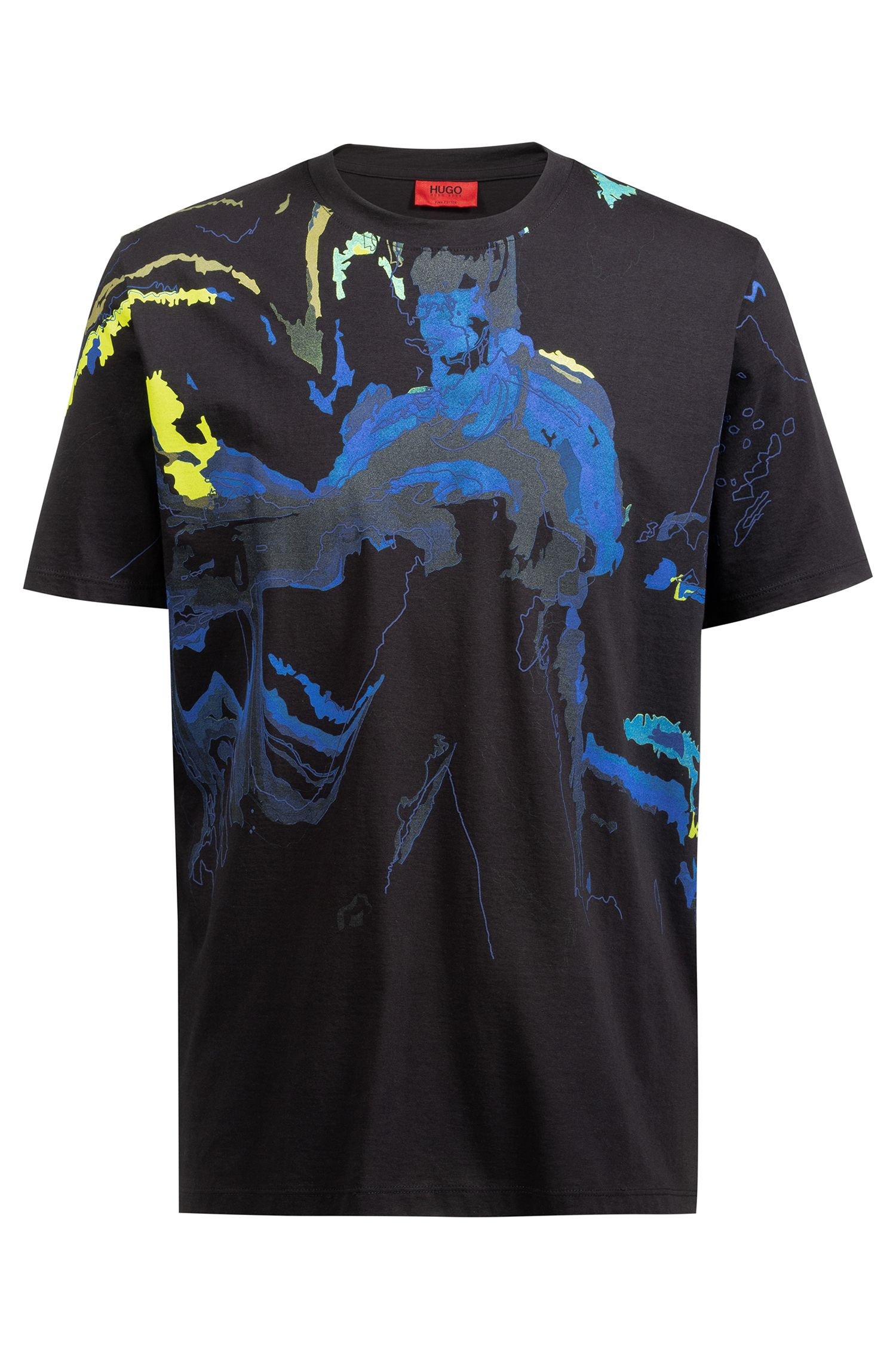 Regular-fit T-shirt in pure cotton with colorful artwork, Black