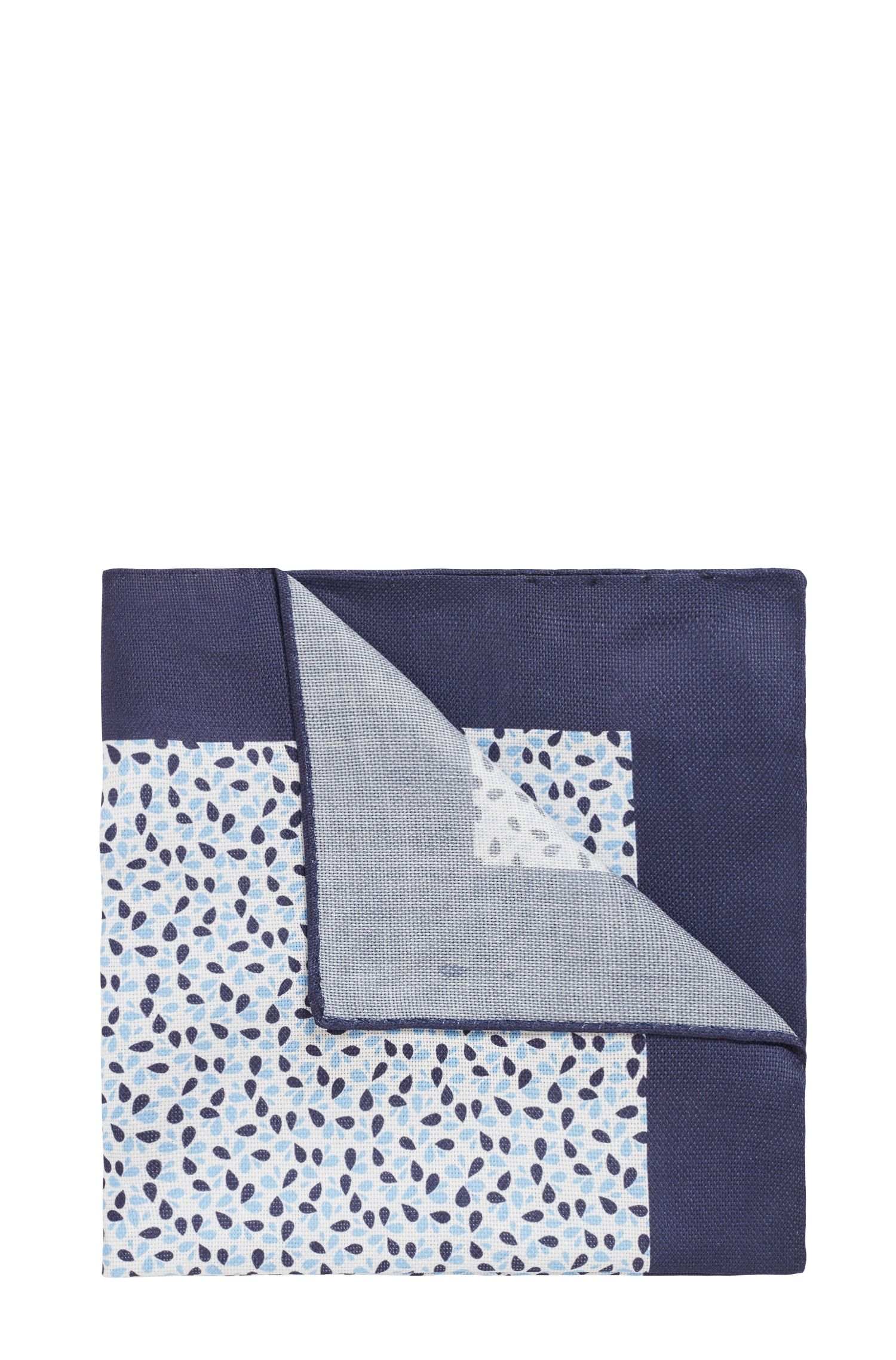 Italian-made printed pocket square in cotton canvas, Light Blue