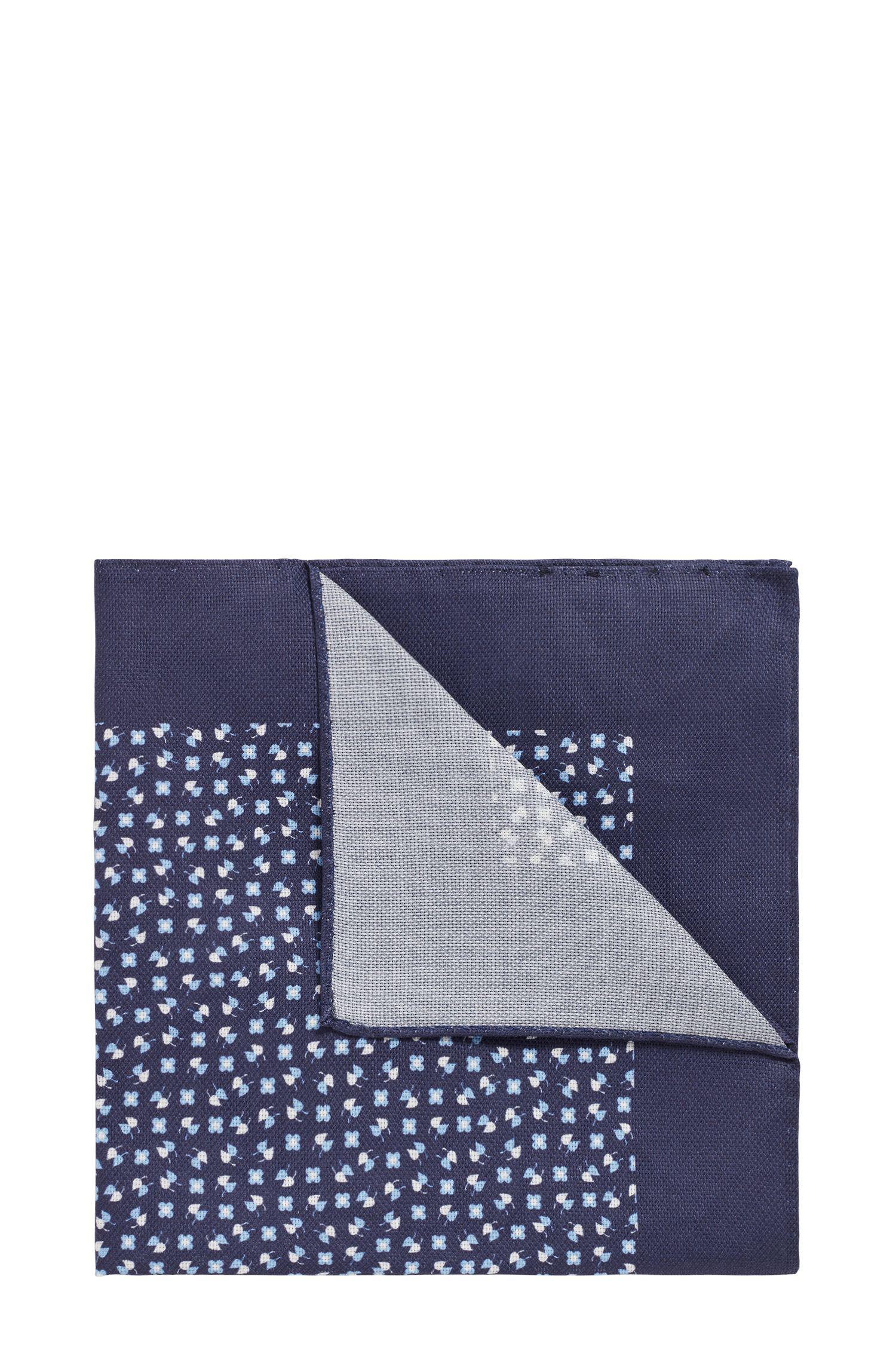 Italian-made printed pocket square in cotton canvas, Open Blue