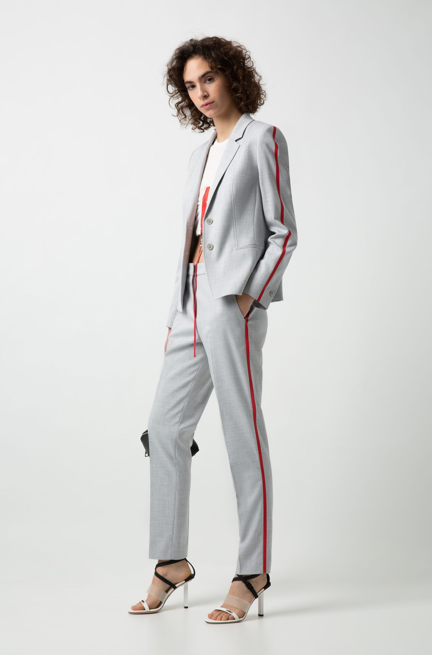 Cropped cigarette pants with contrast side-seam tape, Patterned