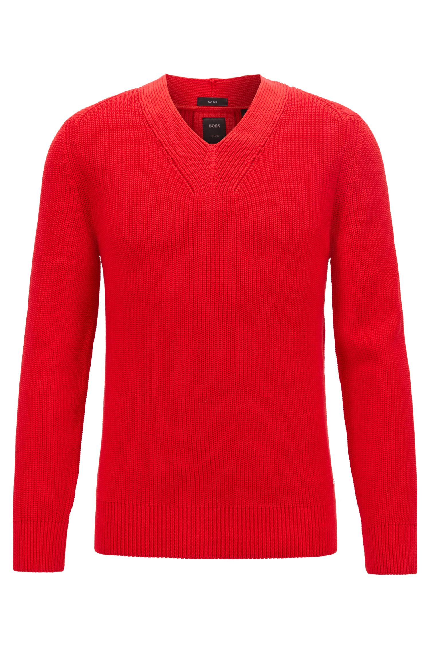 V-neck ribbed sweater in mercerized cotton, Red