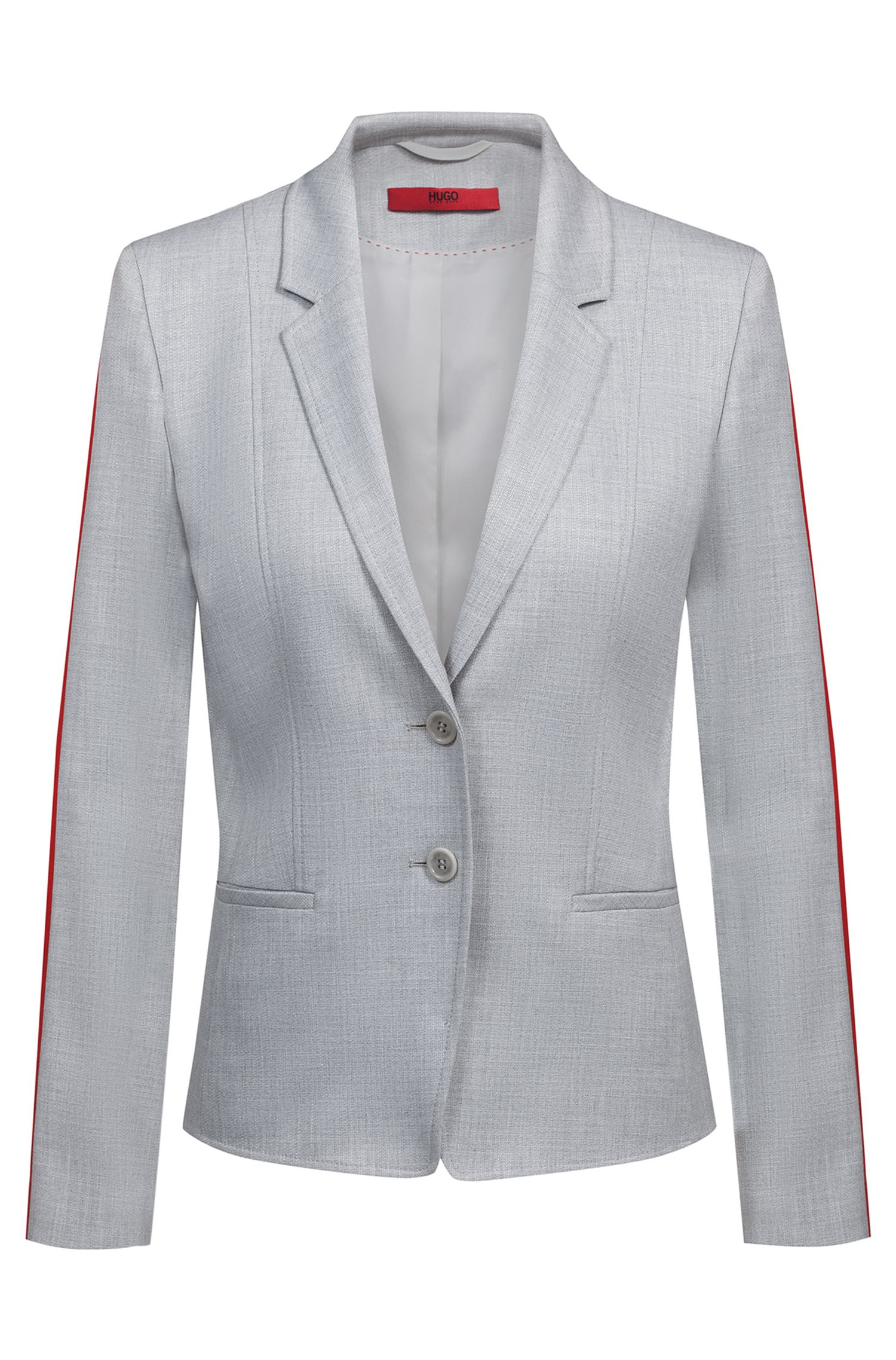 Regular-fit jacket with contrast sleeve tape, Patterned
