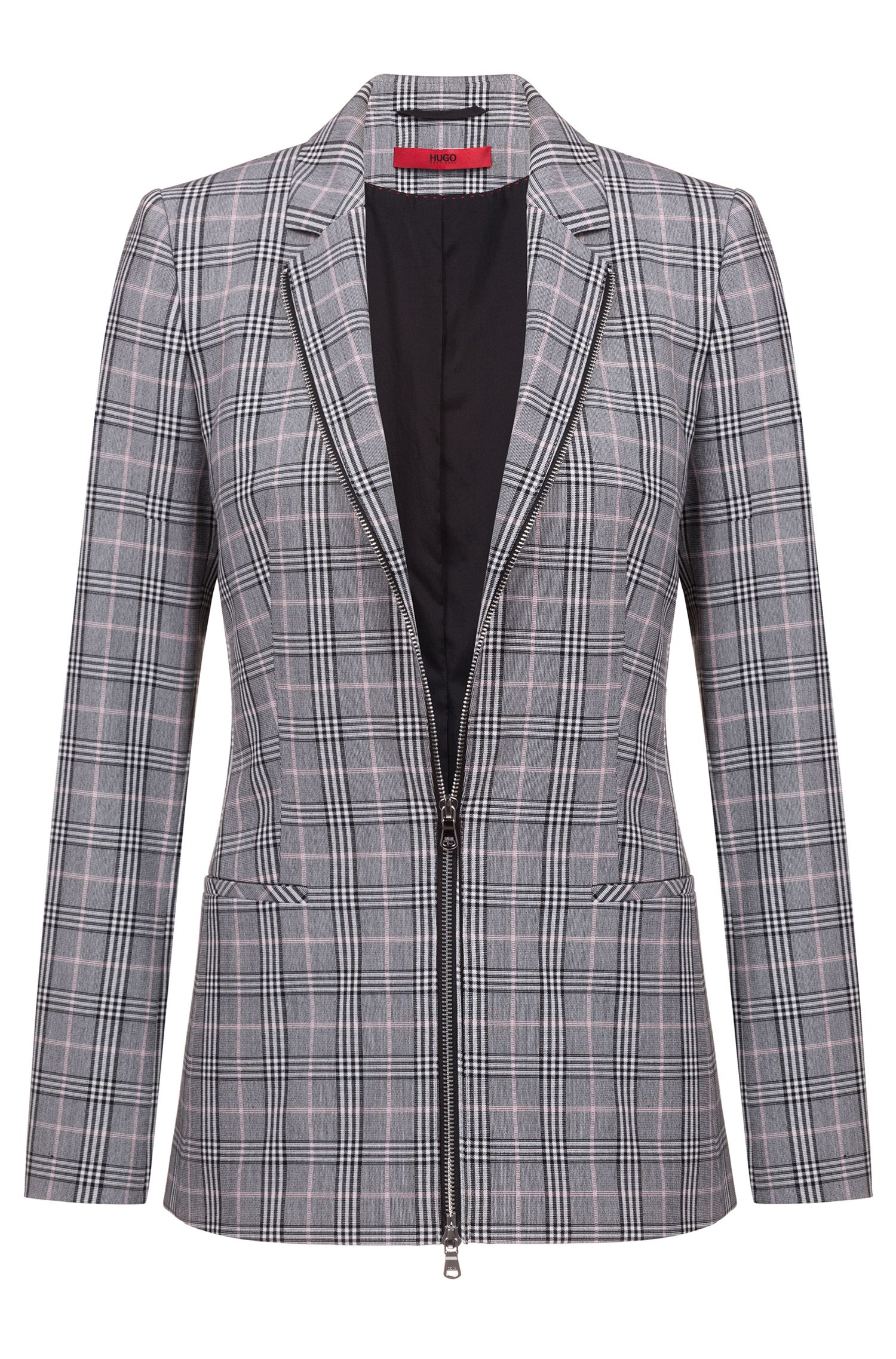Regular-fit checked jacket with two-way front zipper, Patterned