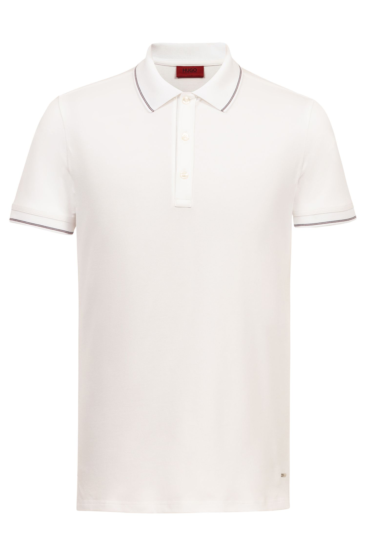 Slim-fit polo shirt with striped tipping, White