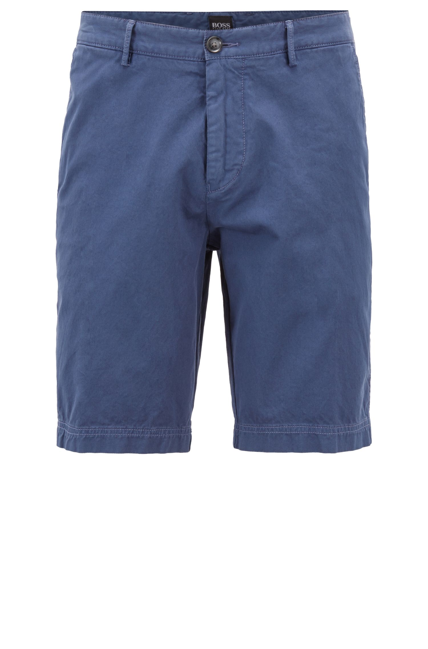 Regular-fit shorts with a fine ribbed structure, Open Blue