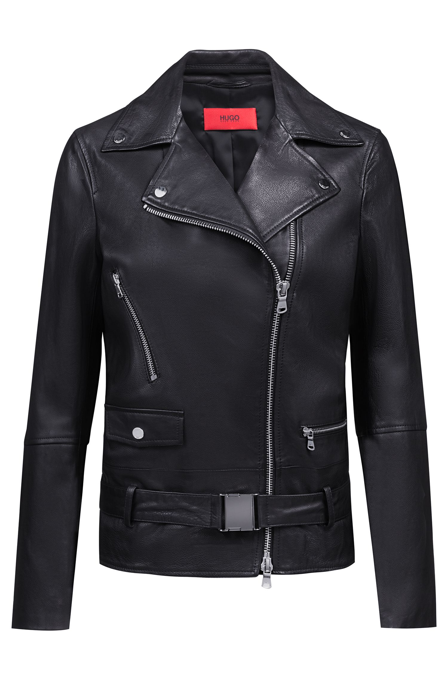 Relaxed-fit leather jacket with buckled belt, Black