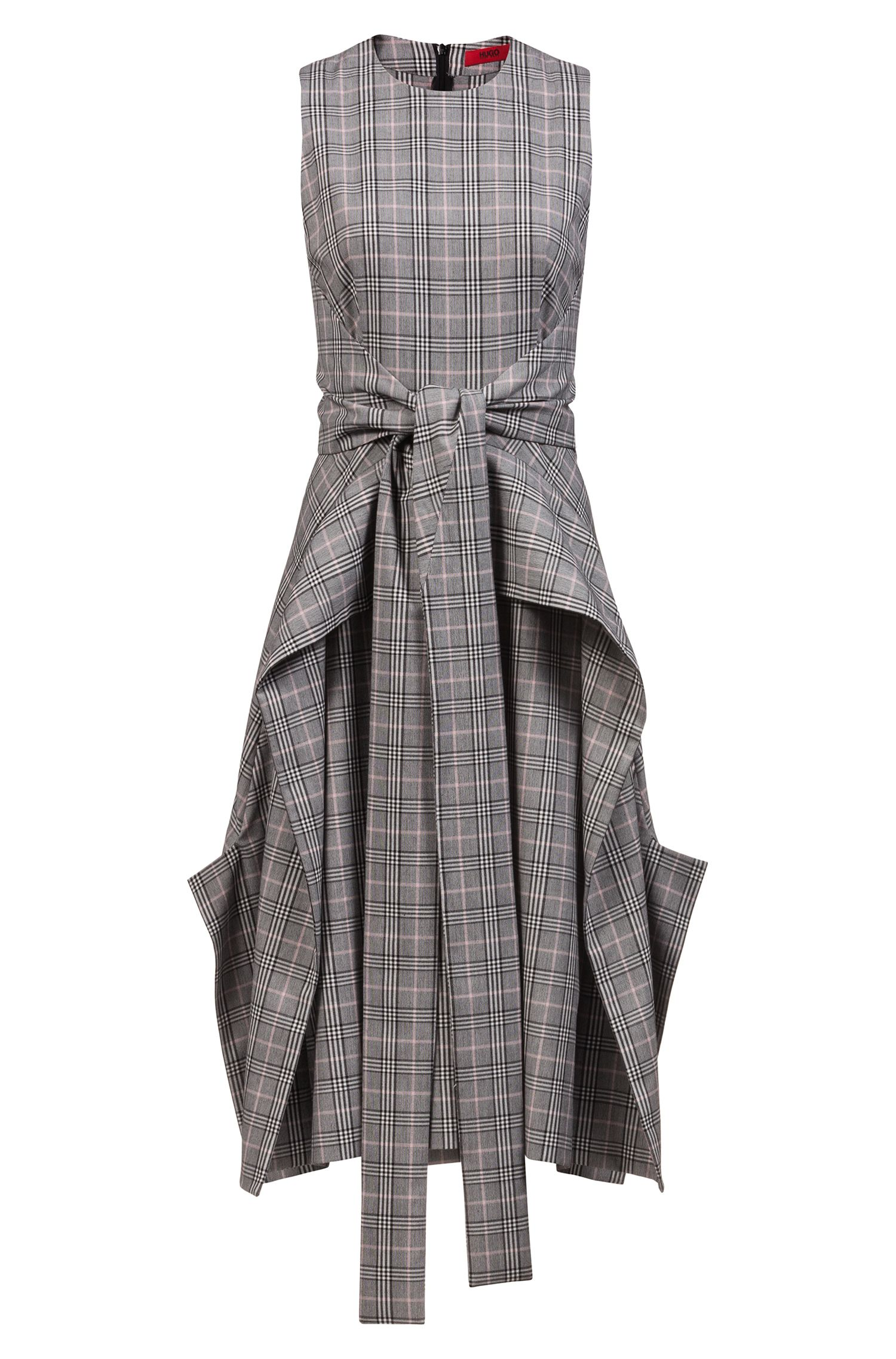 Checked midi dress with waterfall skirt and bow detail, Patterned