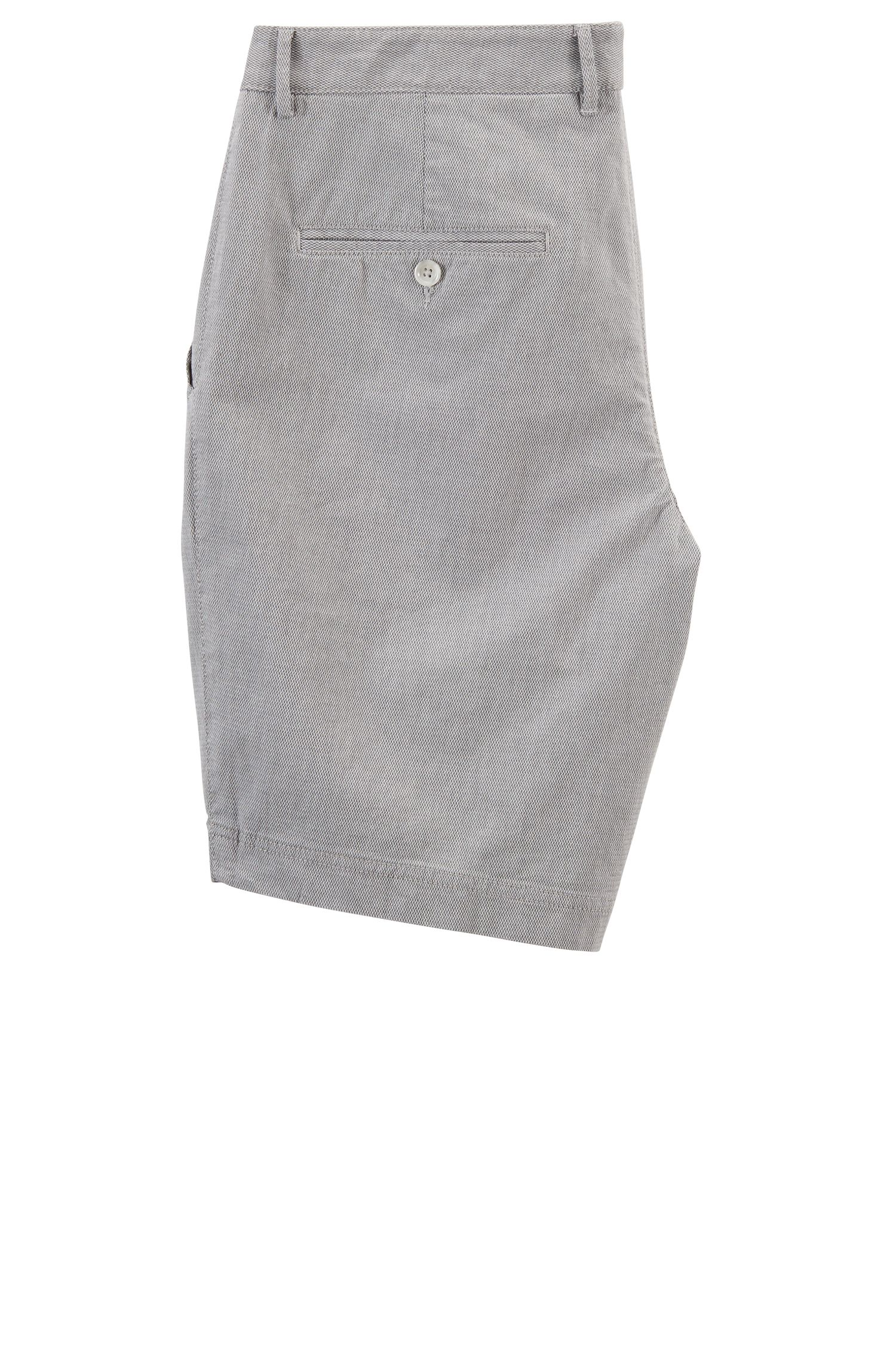Slim-fit shorts in stretch-cotton dobby, Open Grey