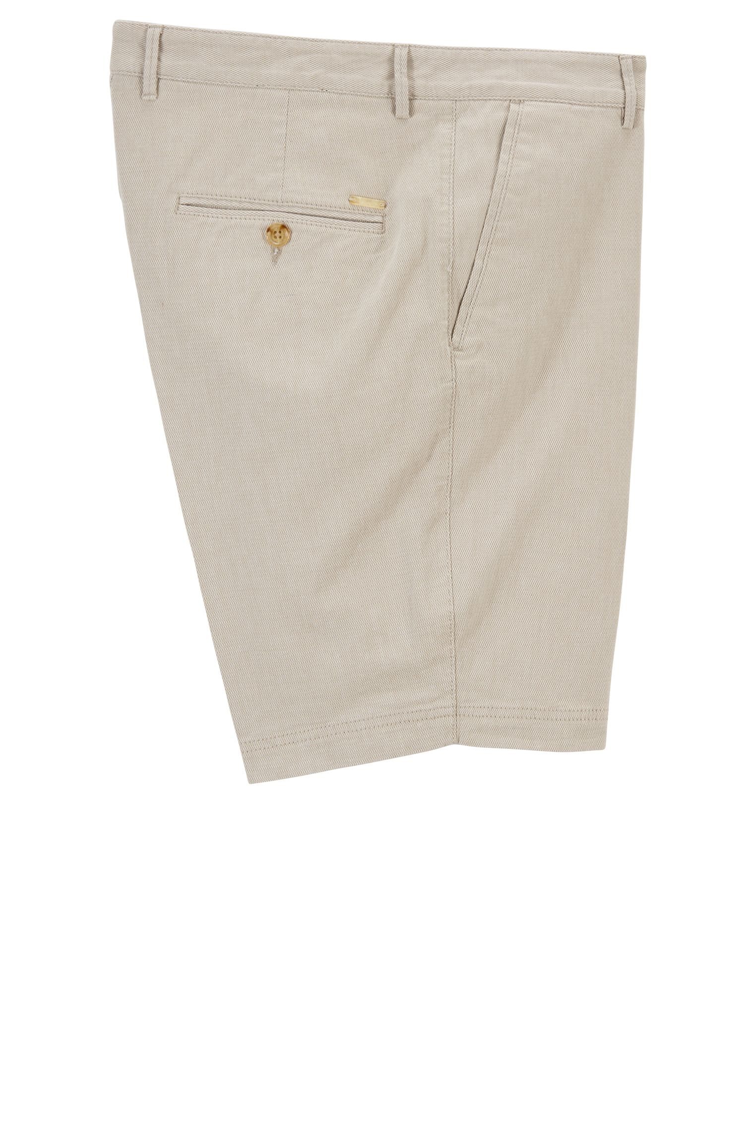 Slim-fit shorts in stretch-cotton dobby, Beige