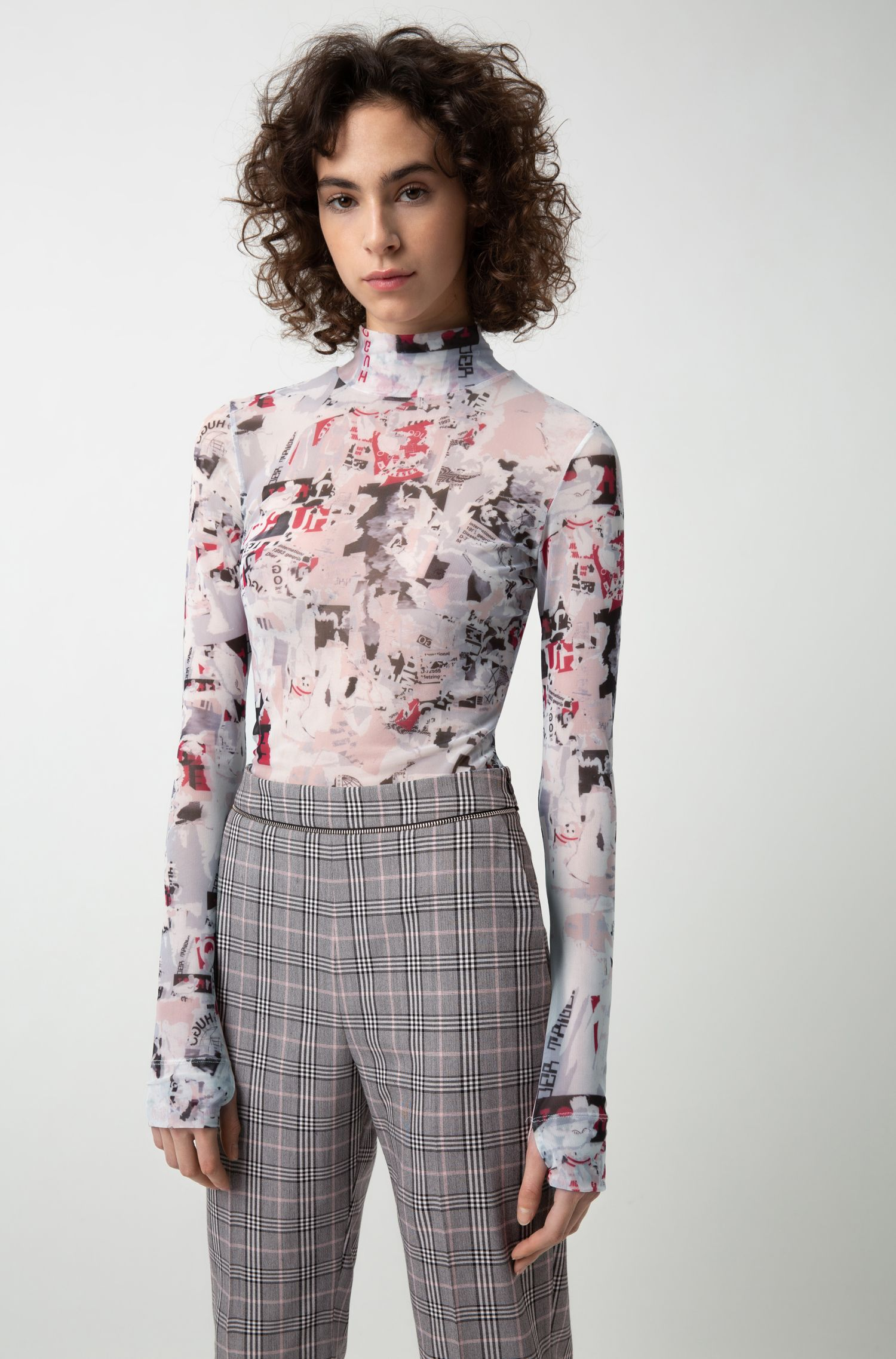 Checked cigarette pants with zipper-detail waistband, Patterned