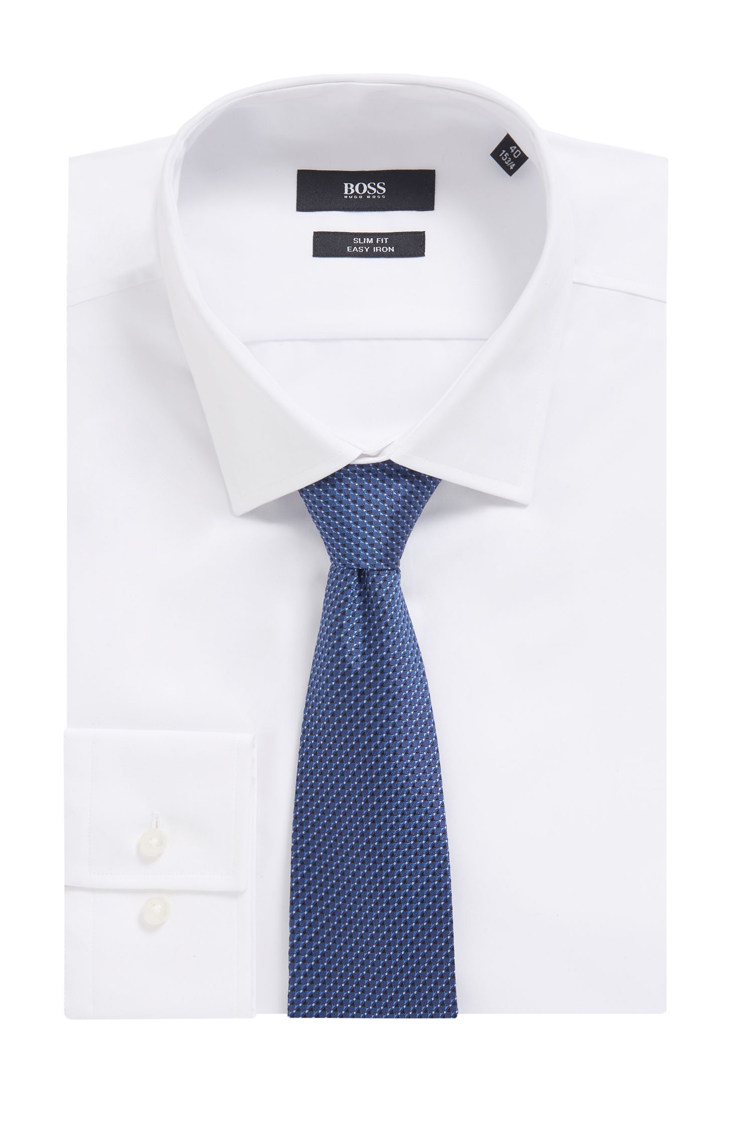 Micro-pattern tie in silk jacquard, Light Blue