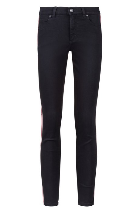 Skinny-fit jeans in black denim with side stripes, Black