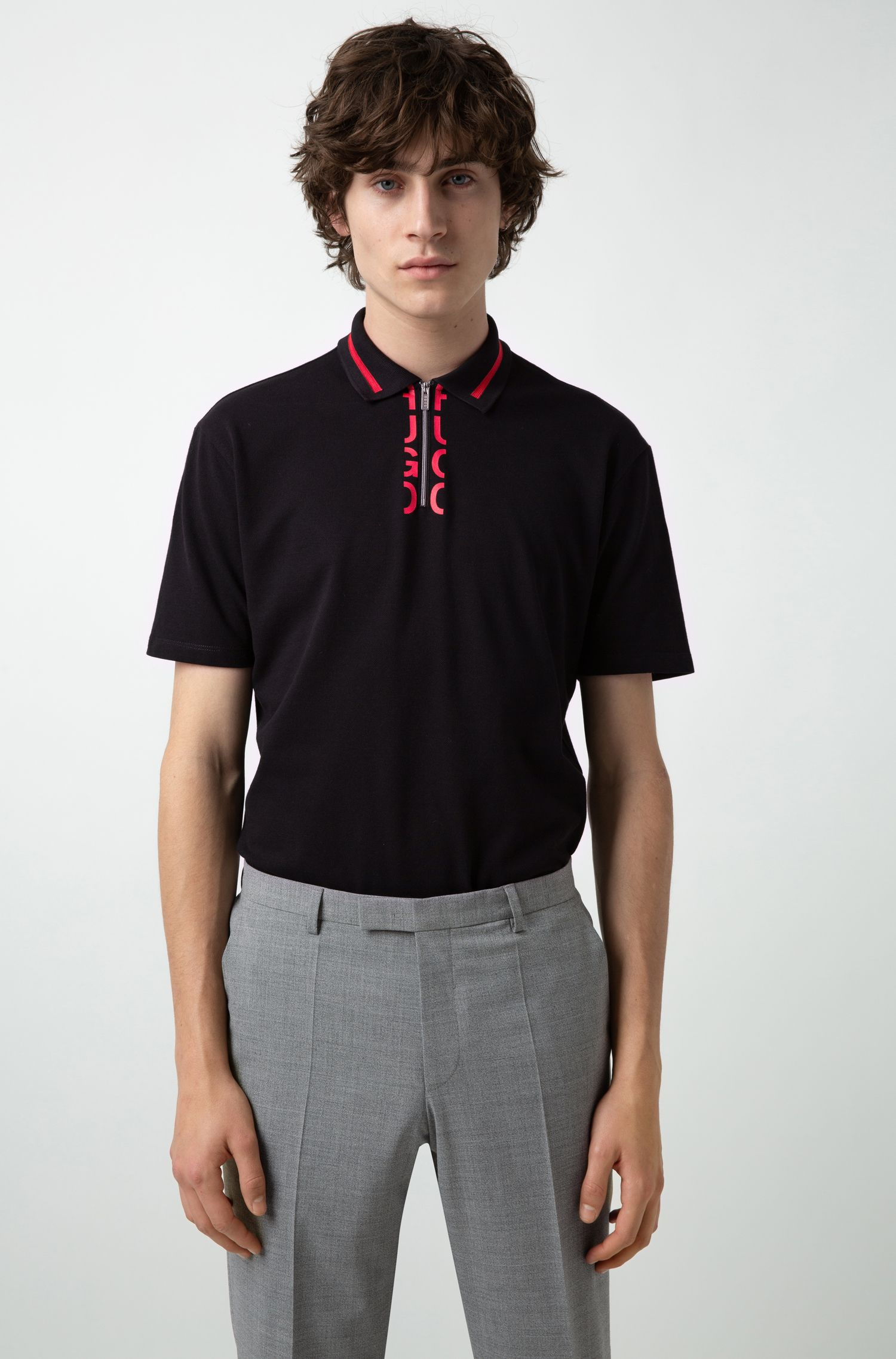 Zipper-neck polo shirt with cropped-logo placket, Black