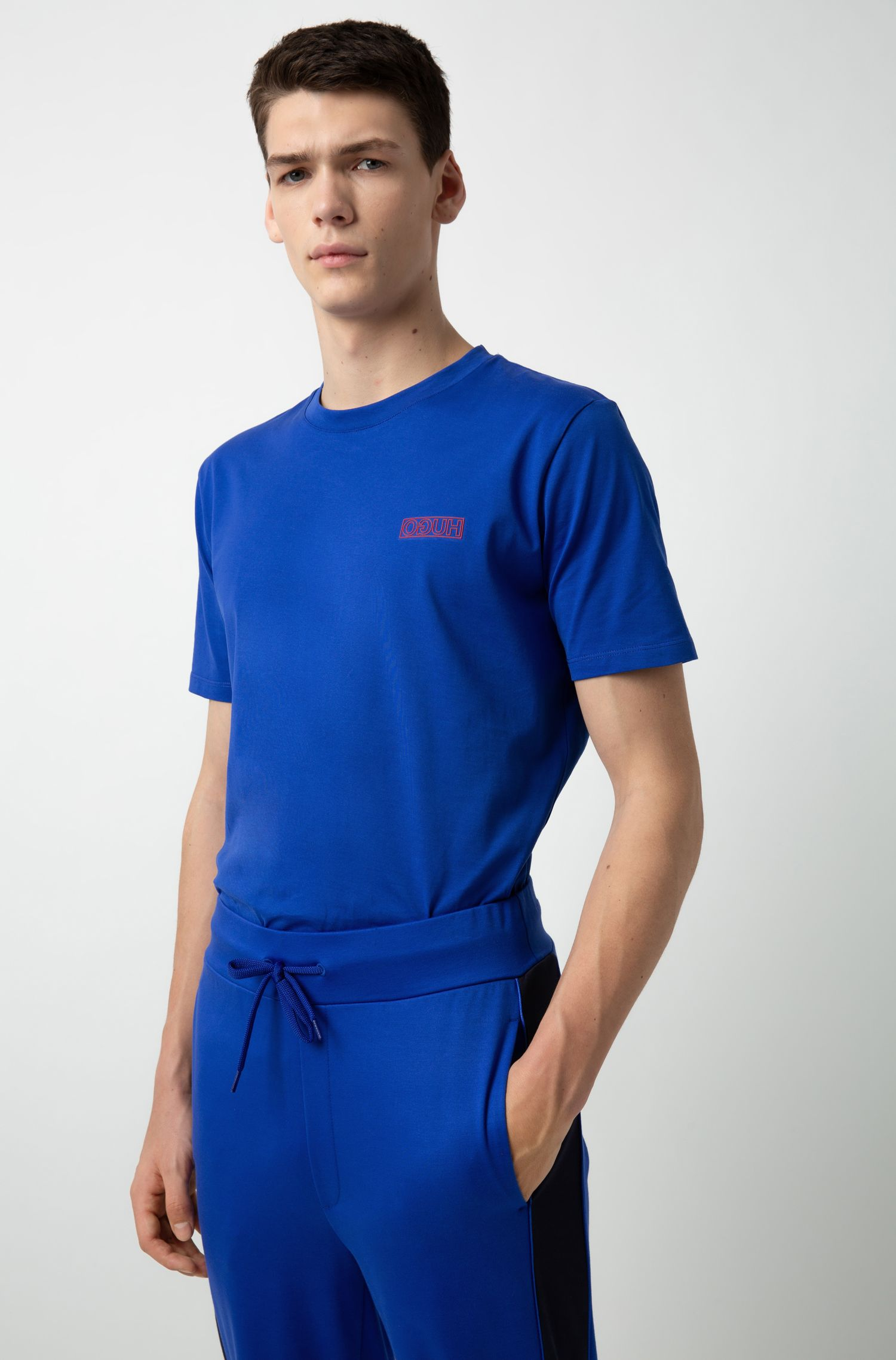 Crew-neck T-shirt in cotton with tonal reverse logo, Blue