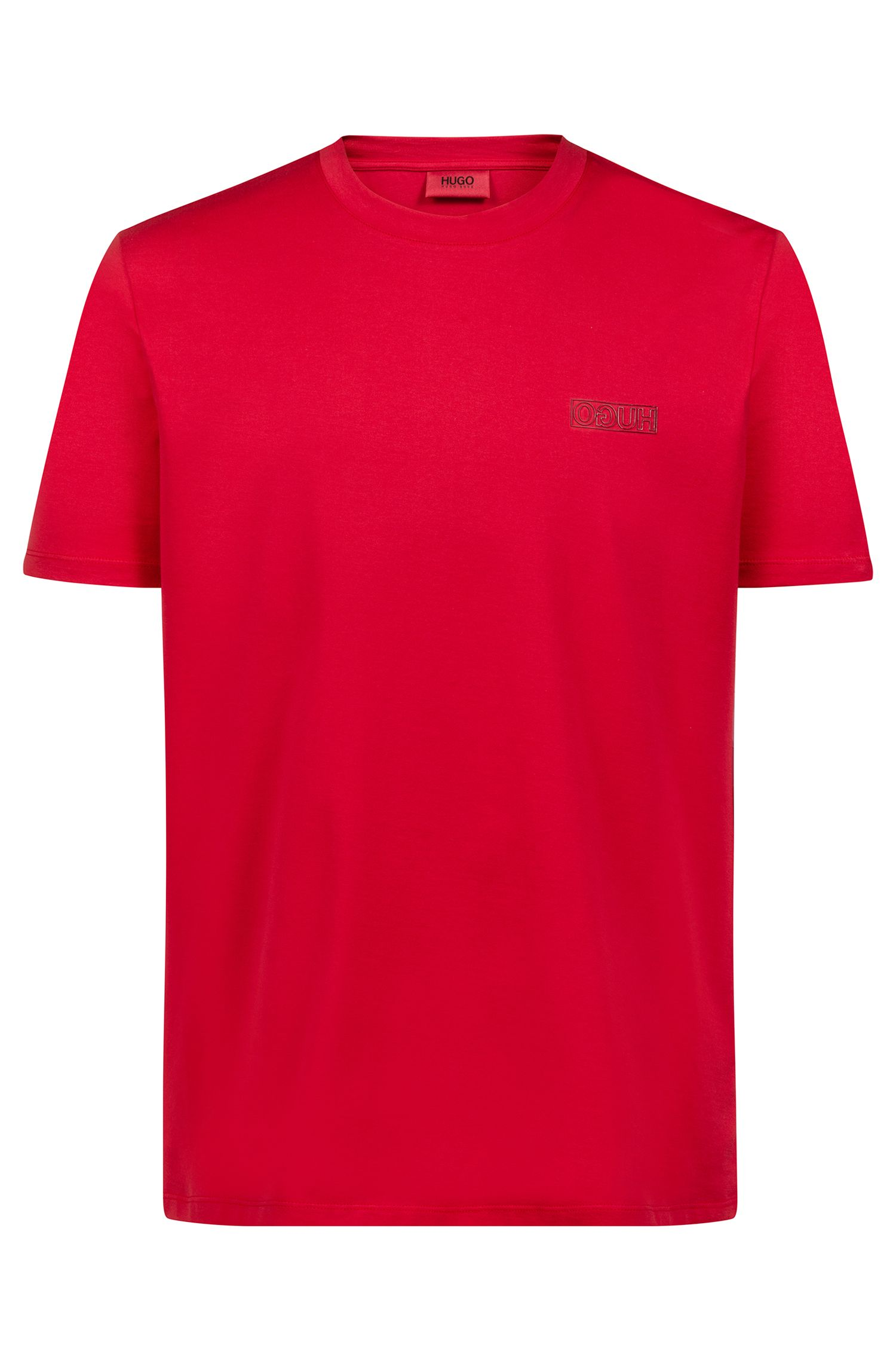Crew-neck T-shirt in cotton with tonal reverse logo, Open Pink