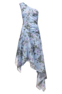 Slim-fit one-shoulder dress with asymmetric hem, Patterned