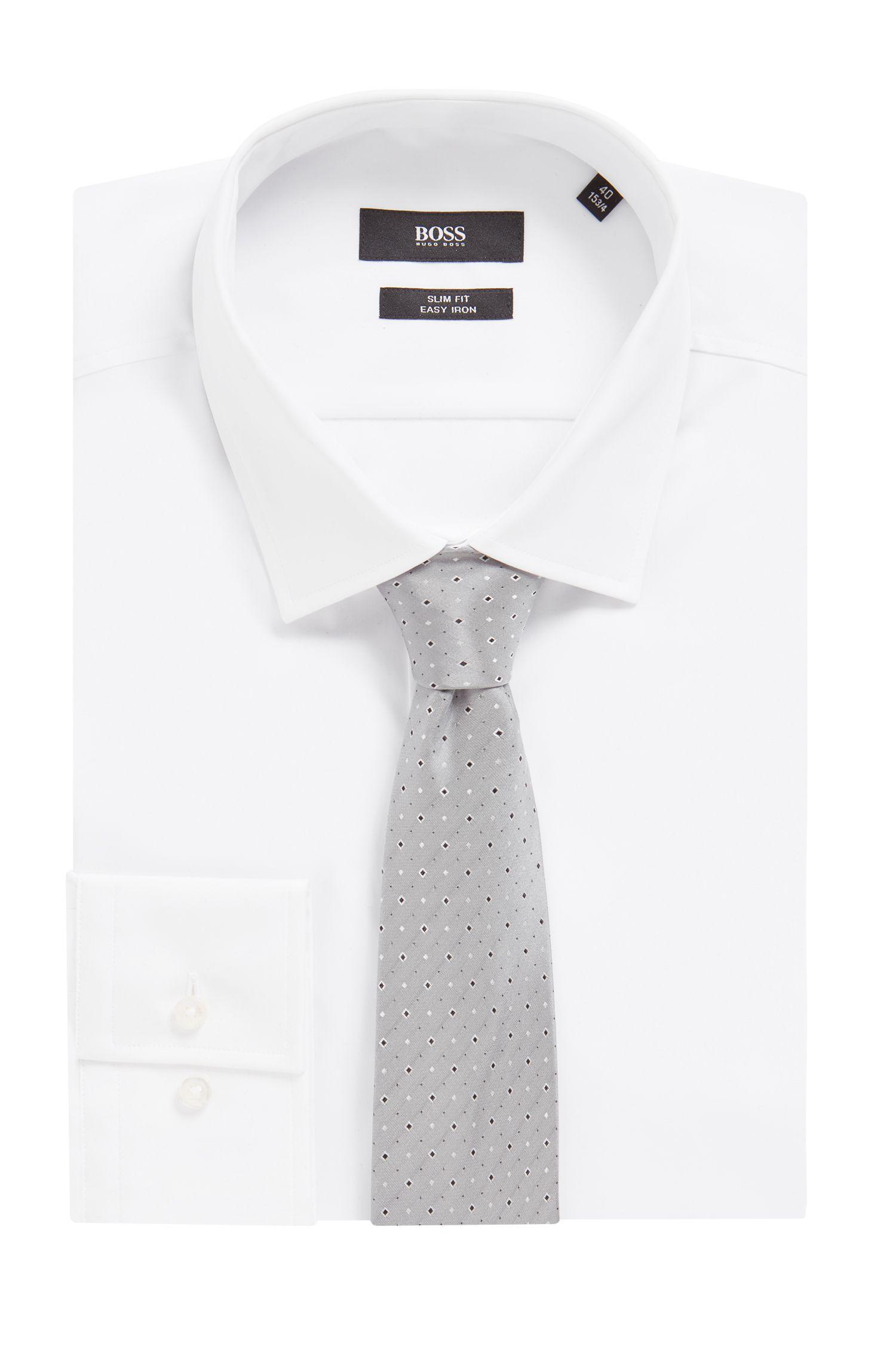 Italian-made tie in silk jacquard with micro pattern, Open Grey