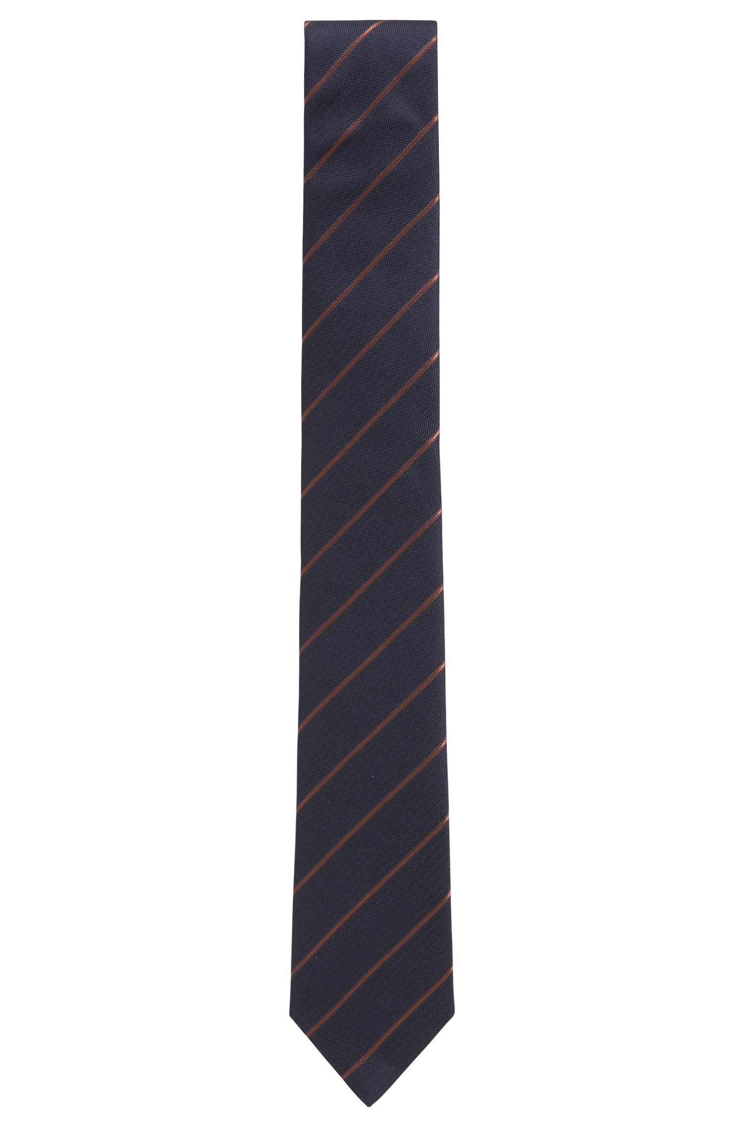 Handmade silk-jacquard tie with diagonal stripe, Brown