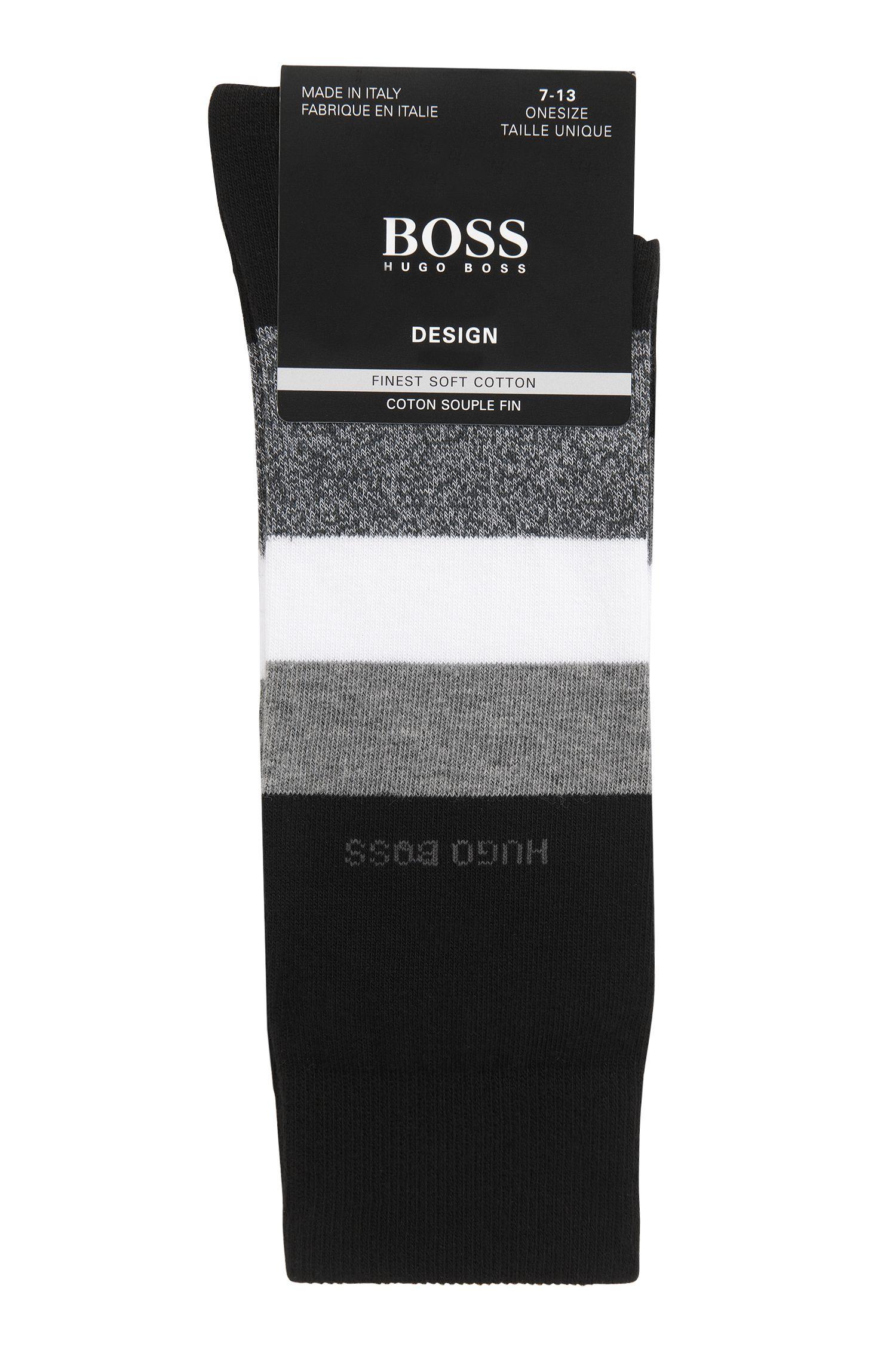 Italian-made regular-length socks with block stripes, Black