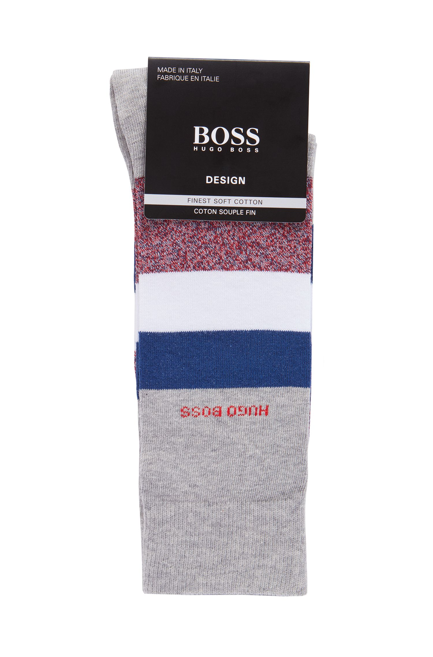 Italian-made regular-length socks with block stripes, Silver