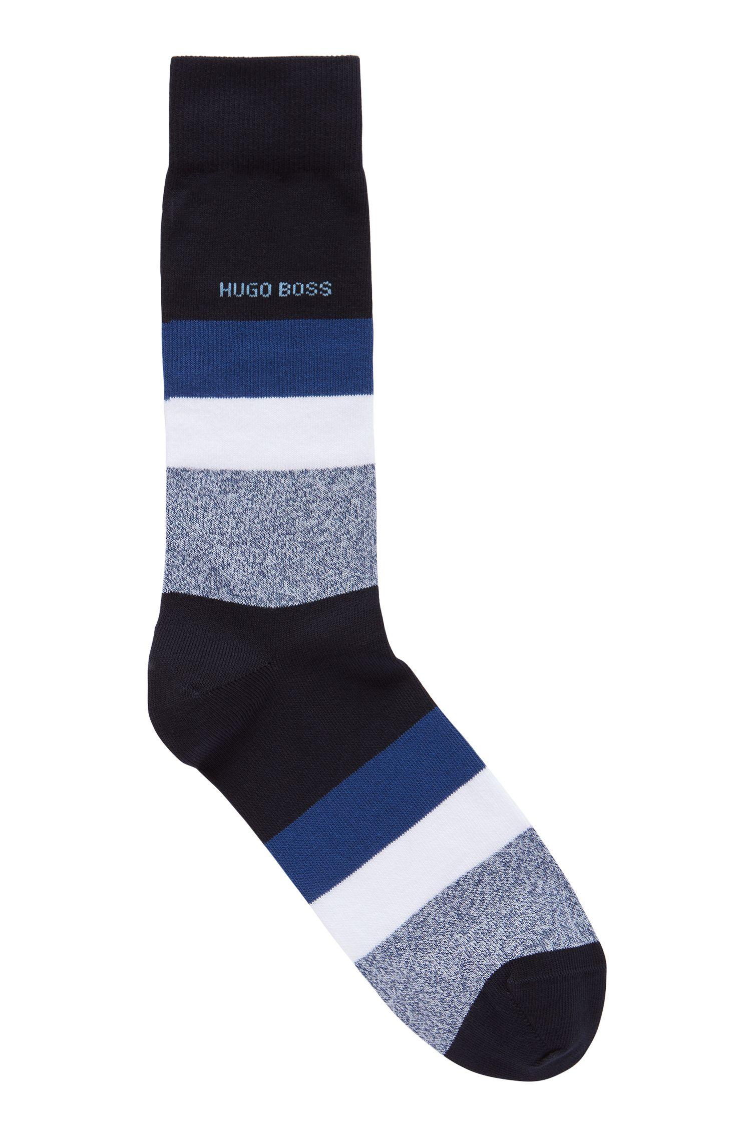 Italian-made regular-length socks with block stripes, Dark Blue