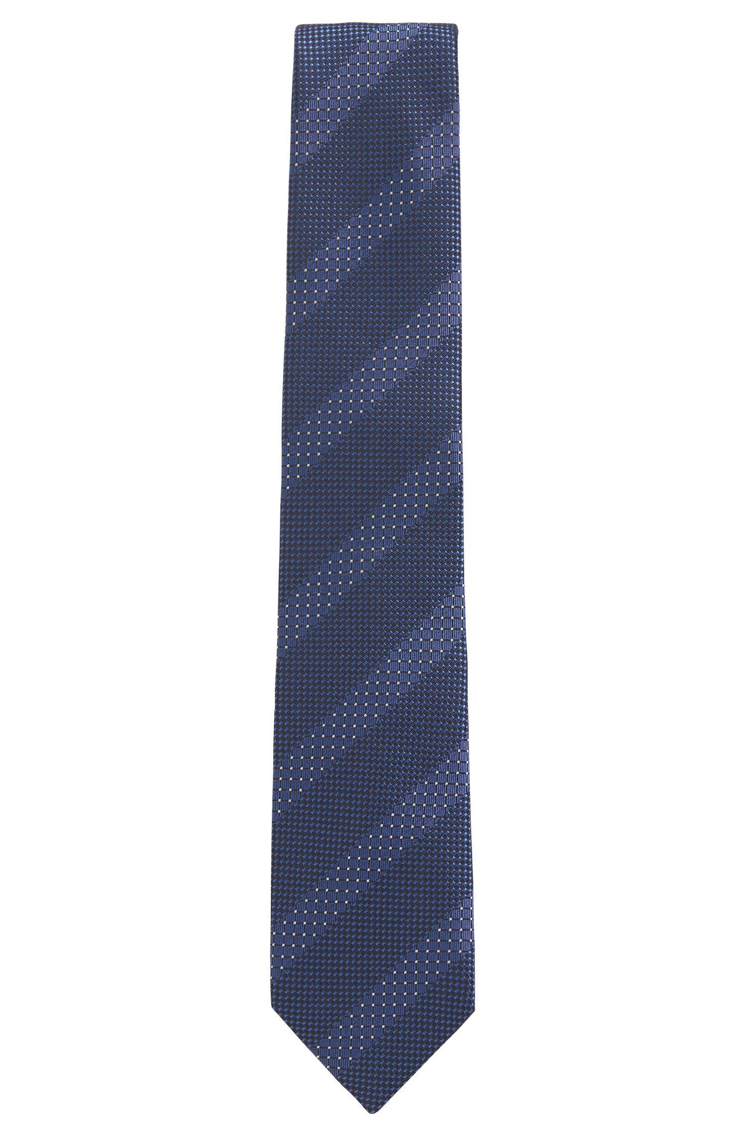 Silk-jacquard tie with diagonal stripe, Dark Blue