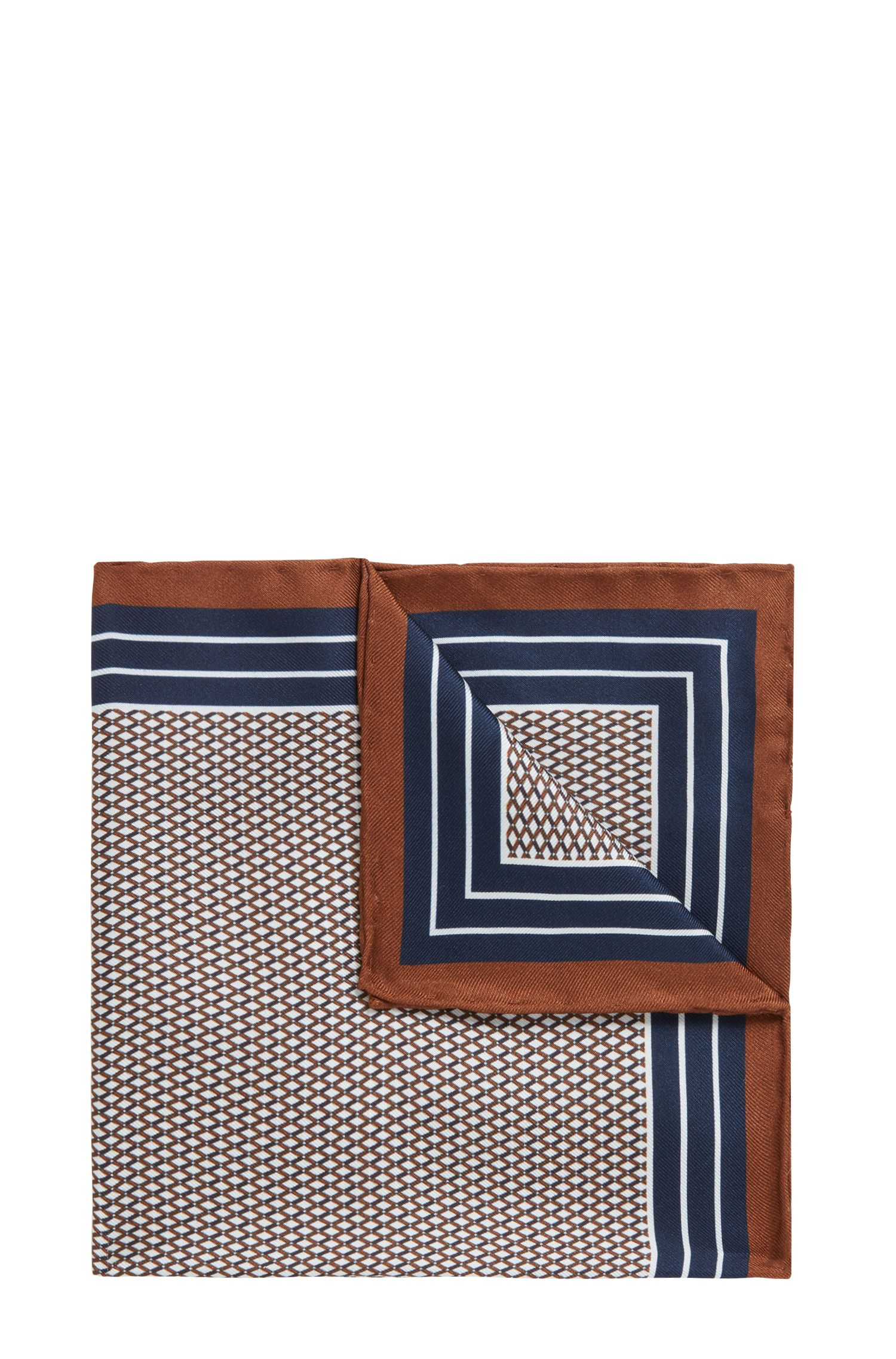 Printed silk pocket square with striped border, Brown
