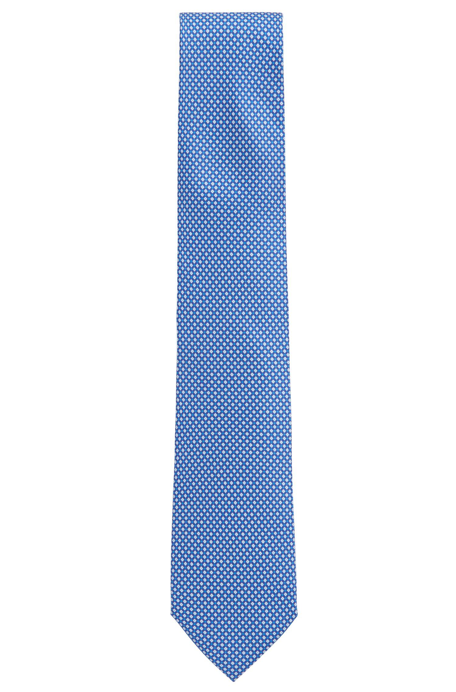 Micro-pattern tie in printed silk, Dark Blue