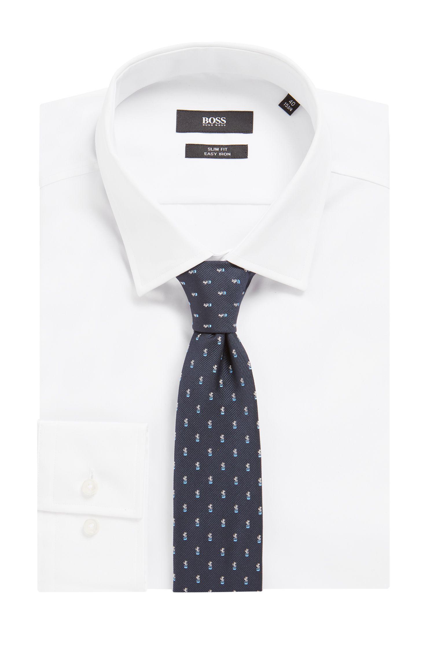 Silk tie with micro-cactus motif, Dark Blue