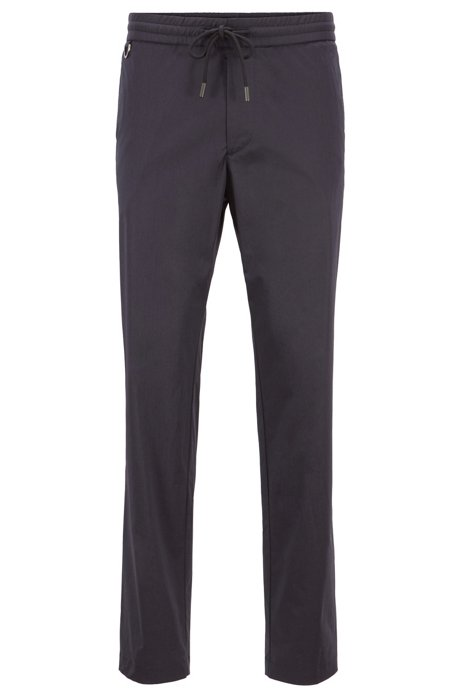 Slim-fit pants in Italian stretch cotton , Dark Blue