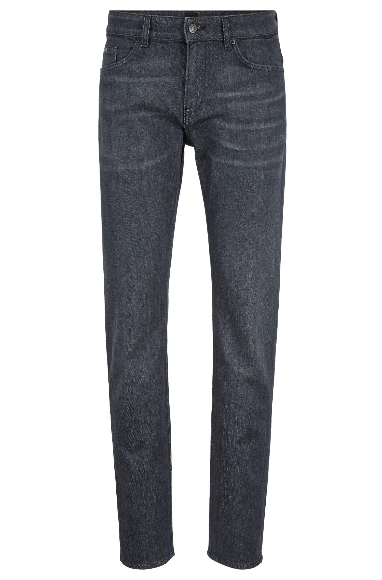 Slim-fit jeans in Italian comfort-stretch black denim, Charcoal