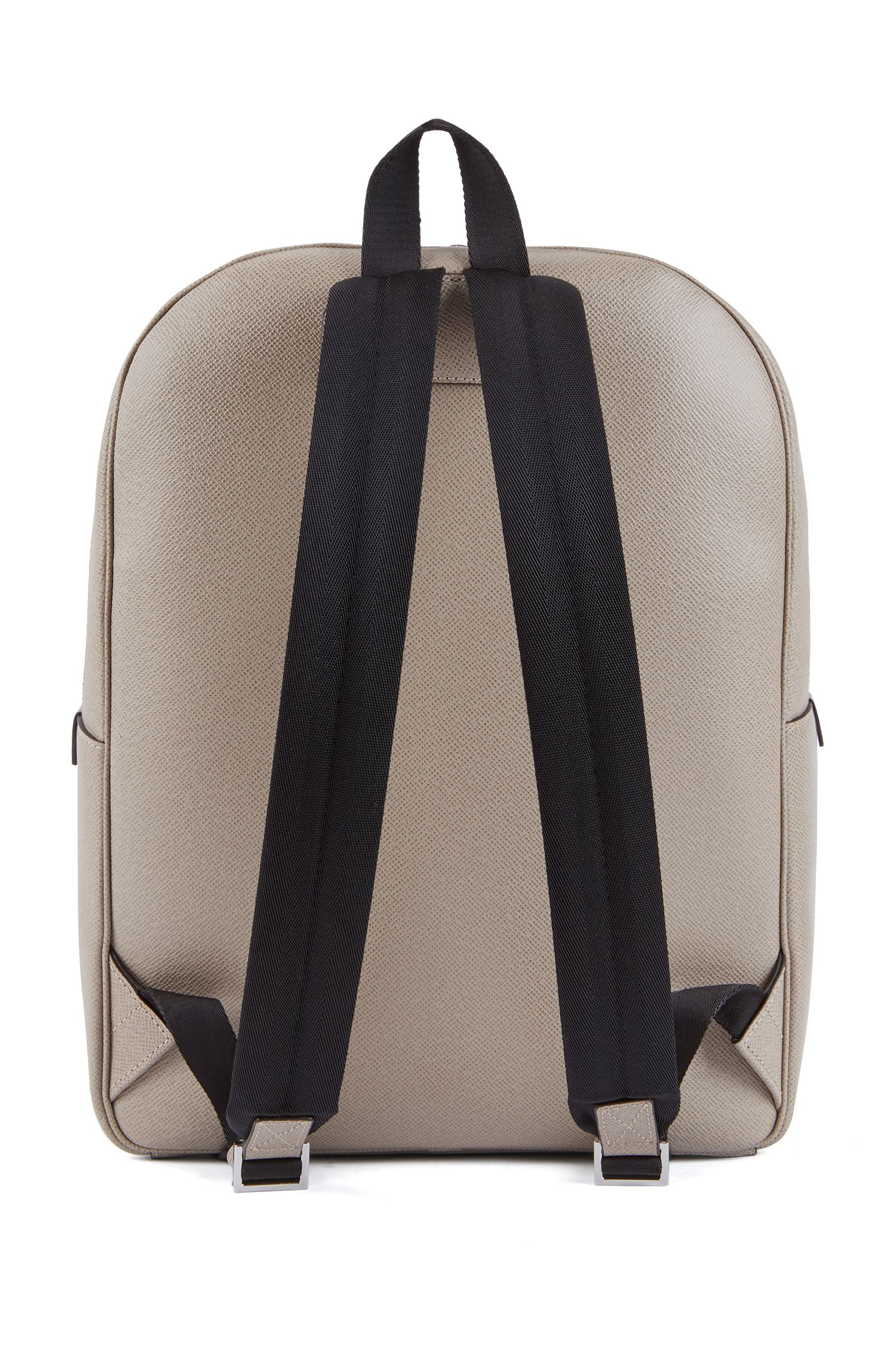 Signature Collection backpack in printed Italian calf leather, Beige