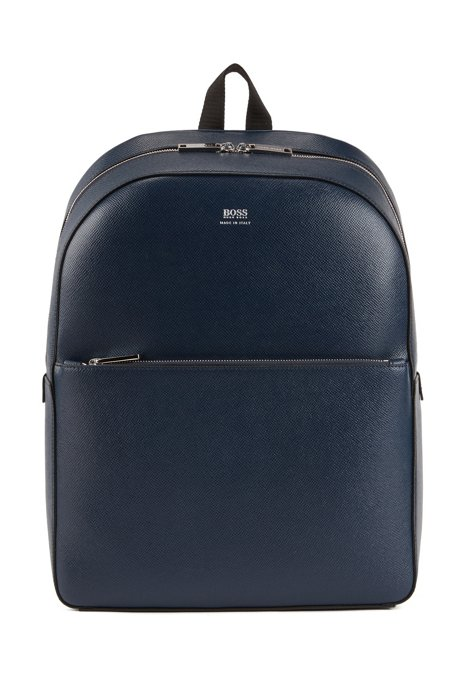 Signature Collection backpack in printed Italian calf leather, Dark Blue