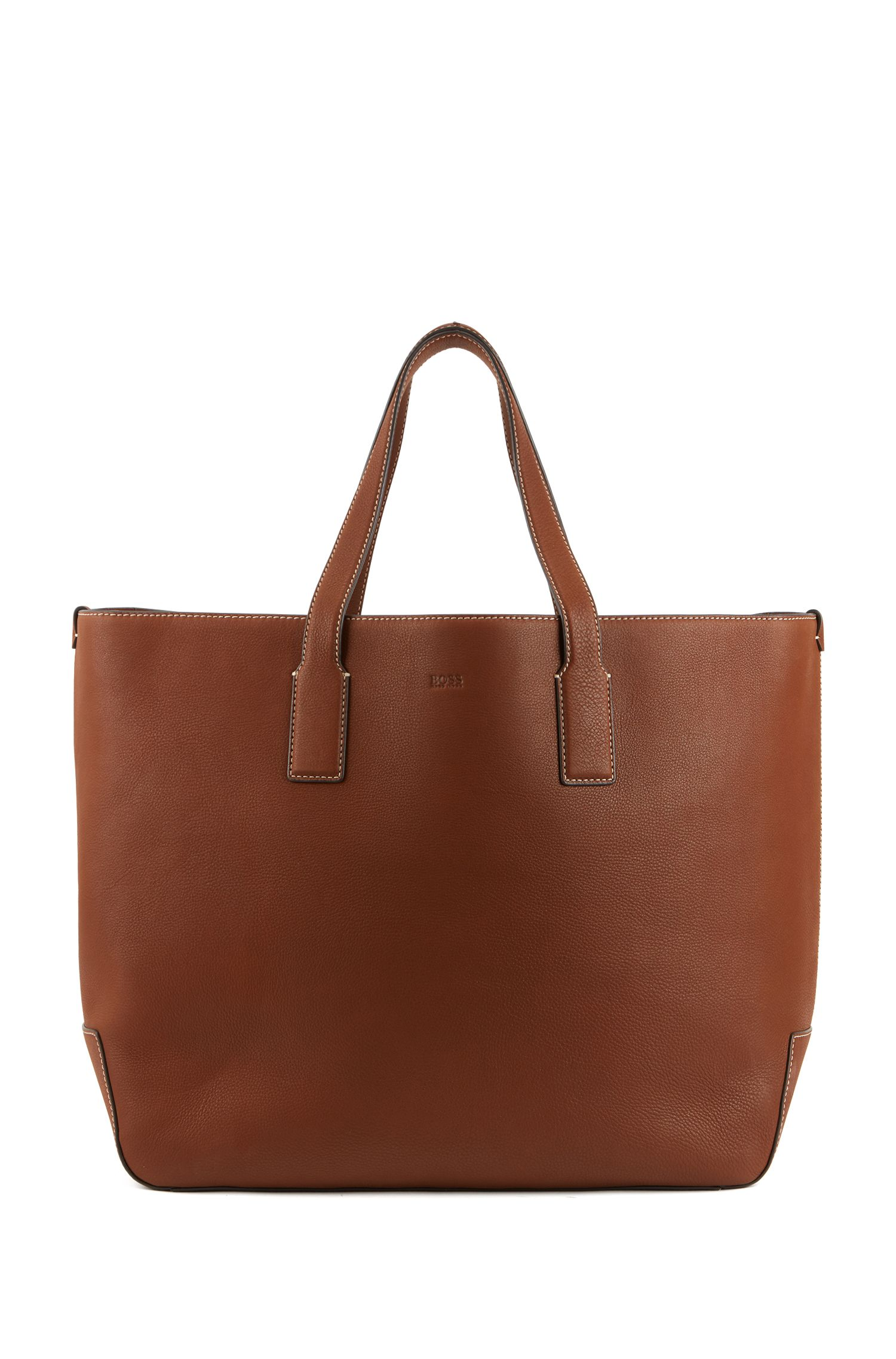Tote bag in soft Italian leather, Light Brown