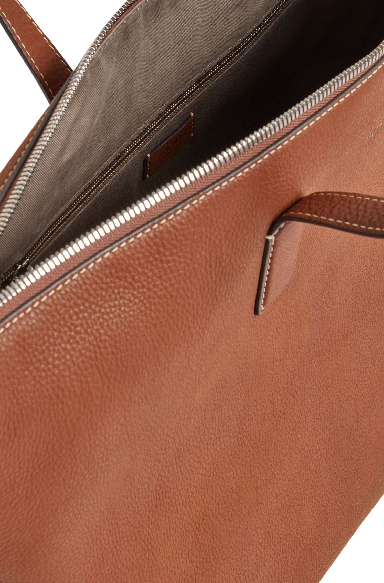 Italian-leather holdall with contrast stitching, Light Brown