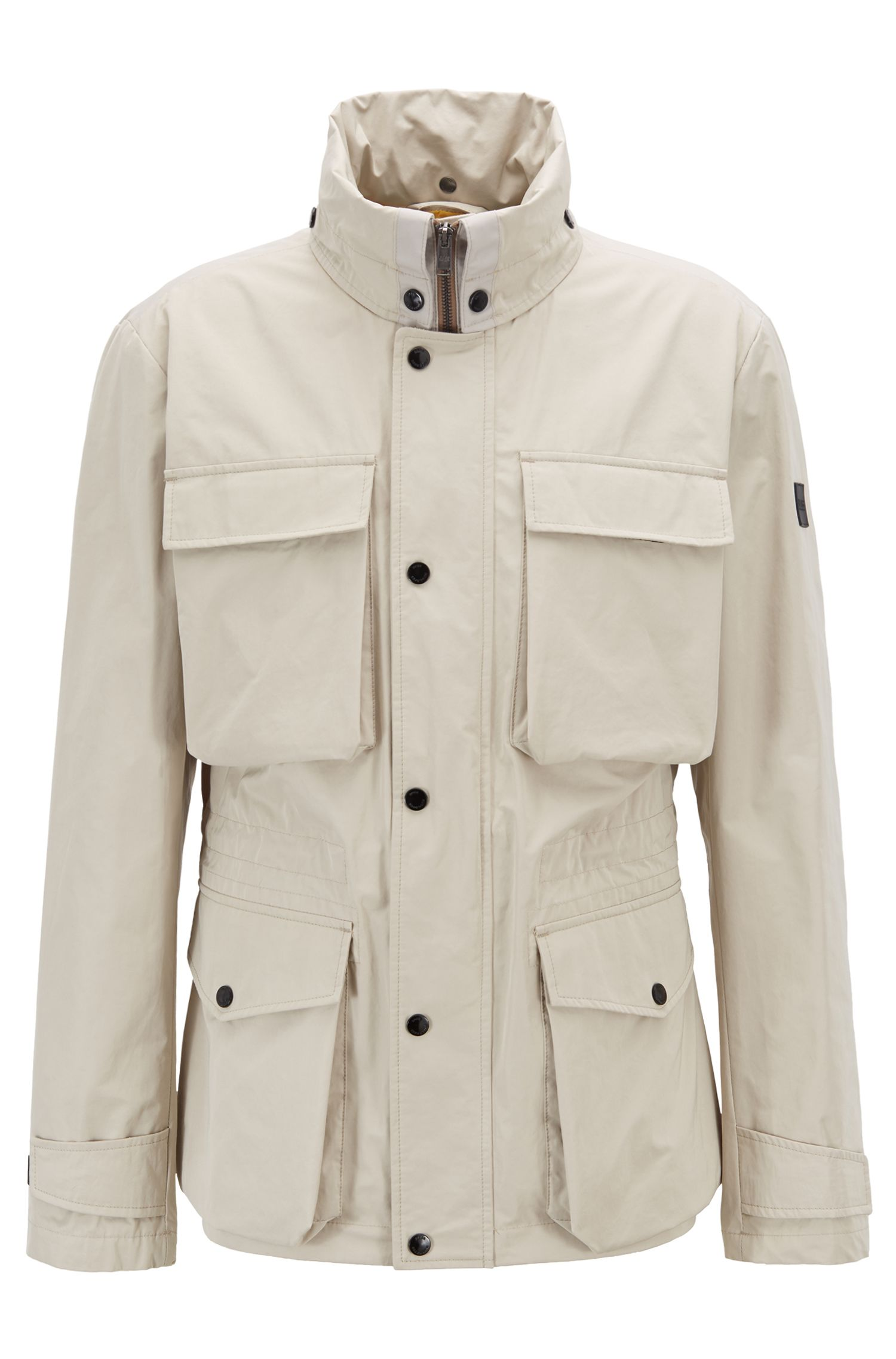 Regular-fit jacket with snap-close placket, Light Beige
