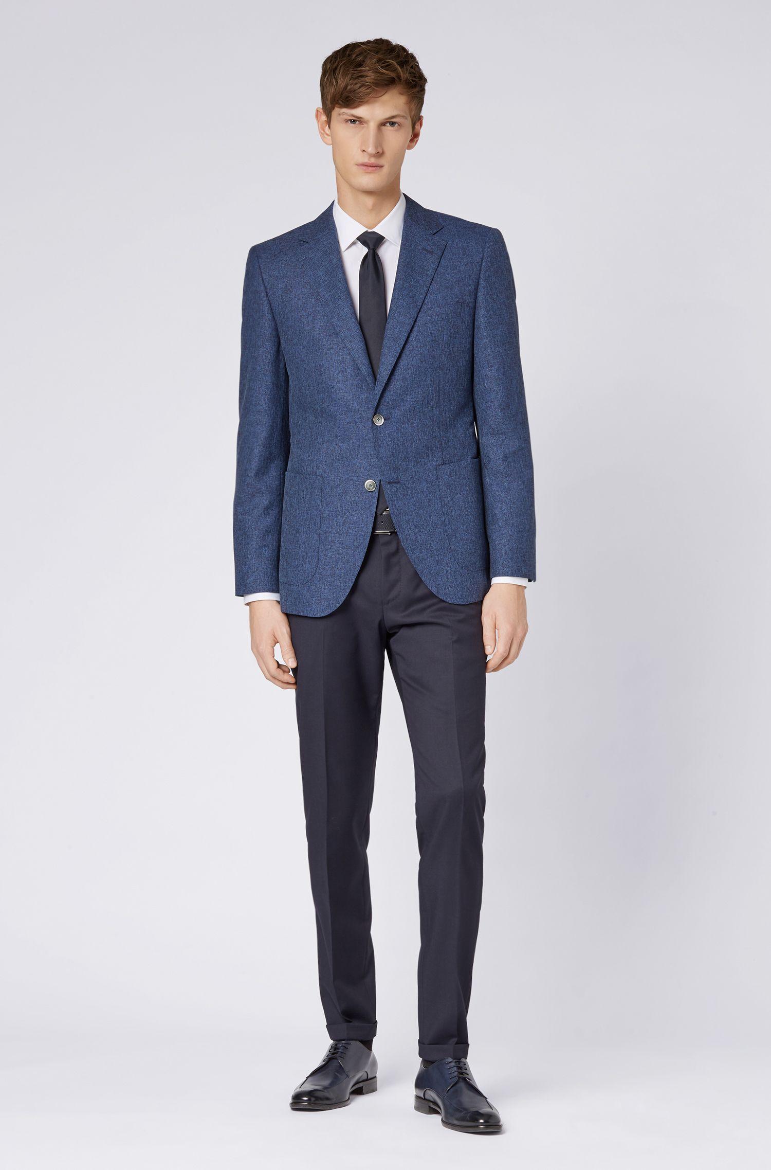 Regular-fit jacket in a virgin-wool blend, Dark Blue